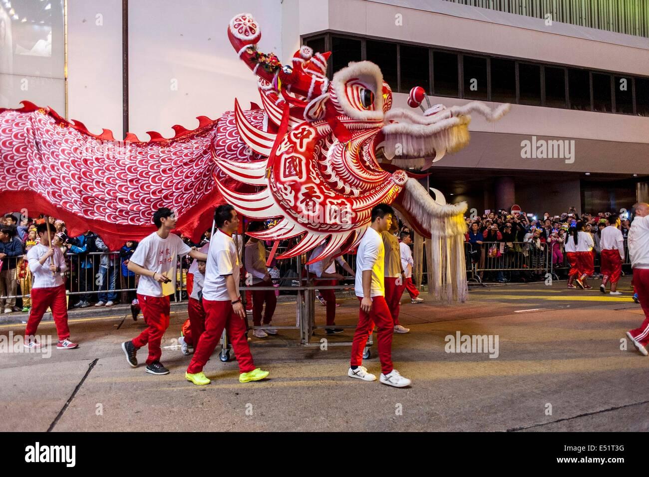 HONG KONG, CHINA 30Jan 2014 - Artists perform during the Chinese New Year of the Horse Parade at Tsim Sha Tsui on - Stock Image