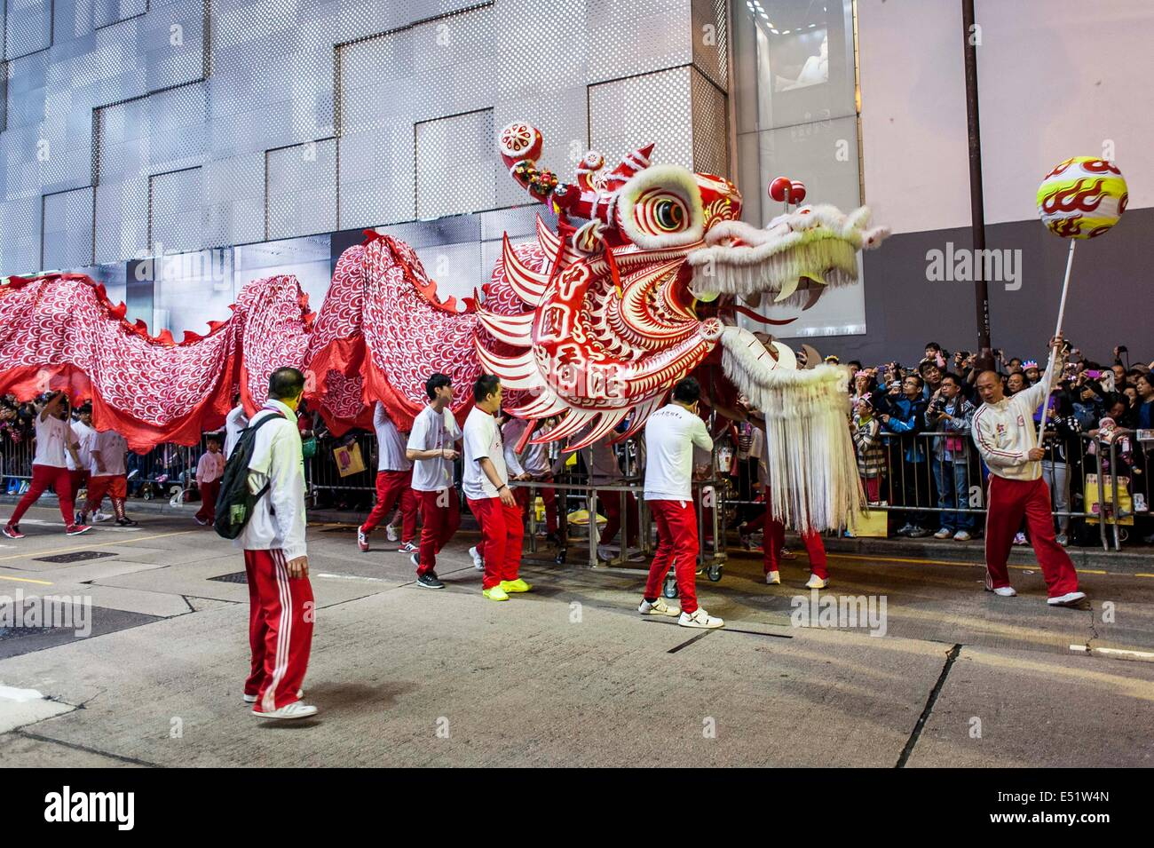 Artists perform during the Chinese New Year of the Horse Parade at Tsim Sha Tsui in Hong Kong - Stock Image