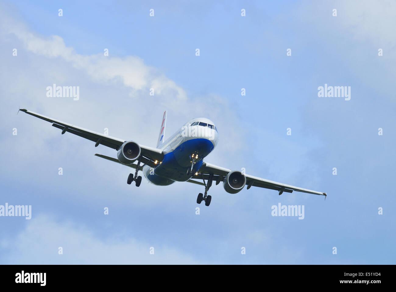 Landing aeroplane, Germany - Stock Image