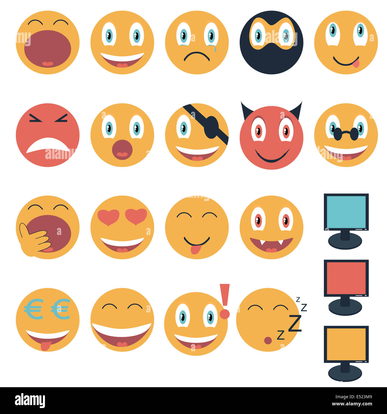 Vintage set of glossy Emoticons - Stock Image