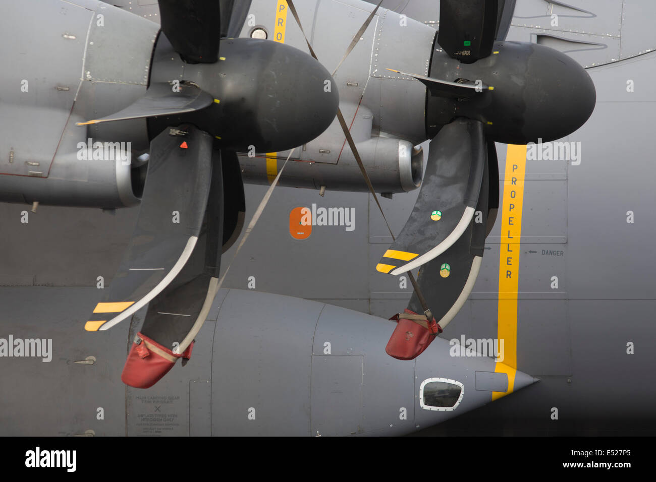 Propellers detail of an Airbus A400M military transporter plane exhibited at the Farnborough Air Show, England. - Stock Image