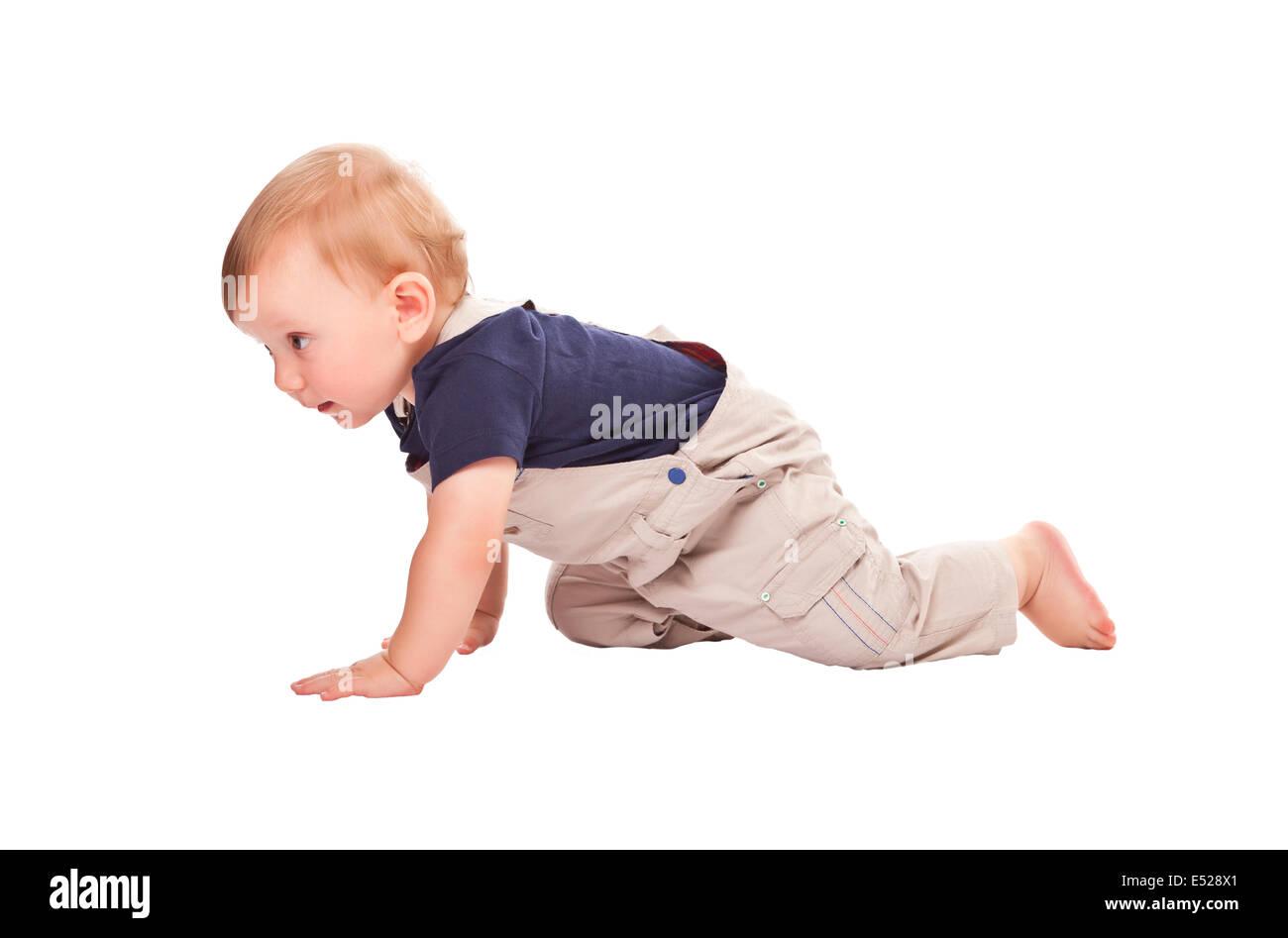 child crawl isolated on white background - Stock Image