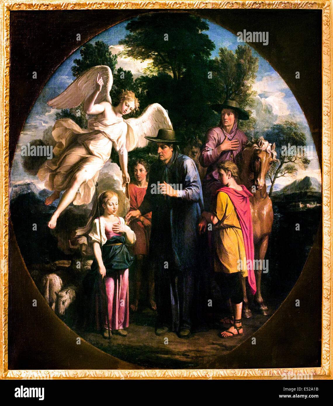 Sainte Saint Genevieve receiving a medal of St Germain Noel Coypel 1628 1707  France French Stock Photo