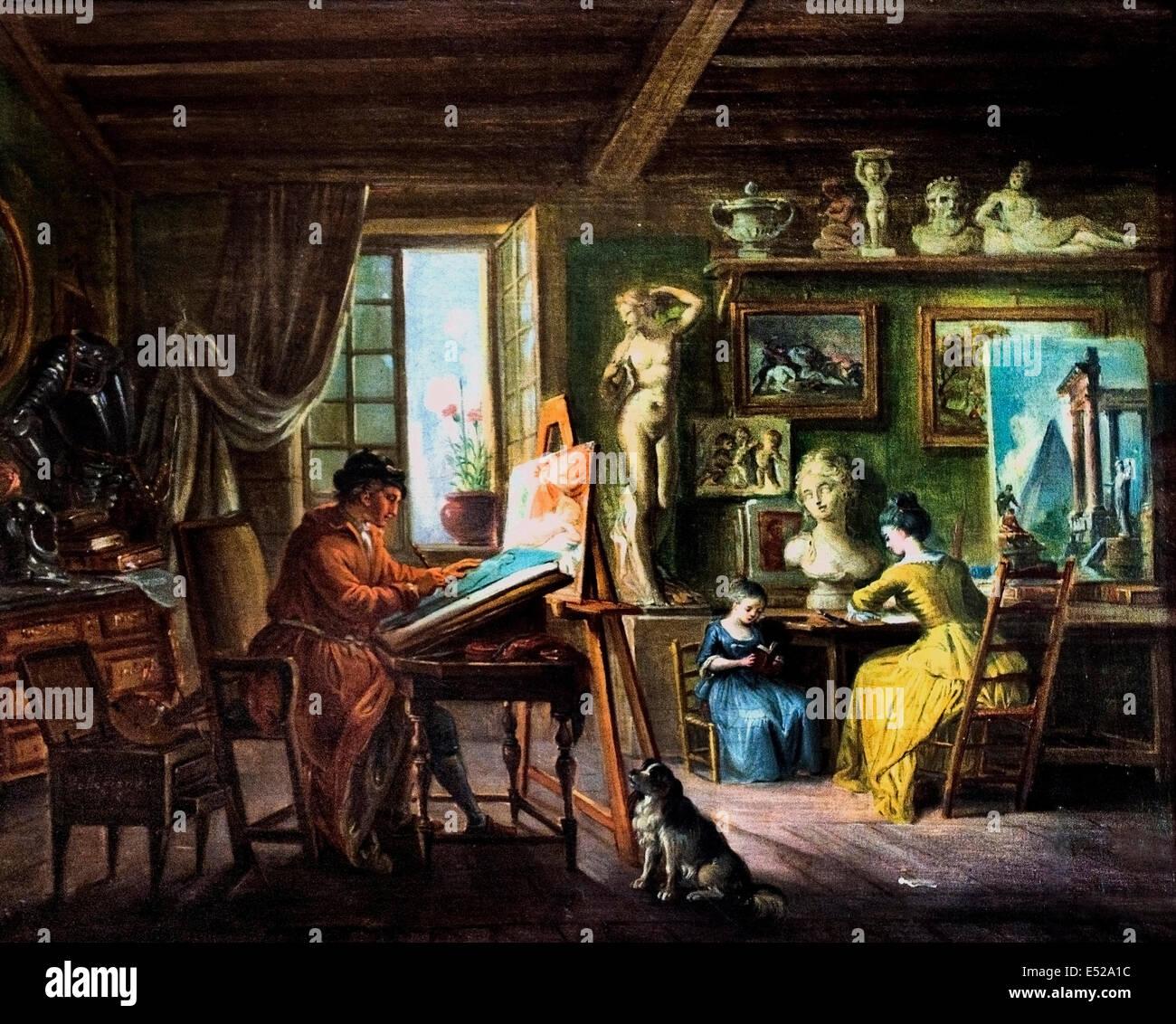 L`Atelier du Peintre - Workshop of the Painter by Jean Paptiste Lallemand 1716-1803 France French - Stock Image