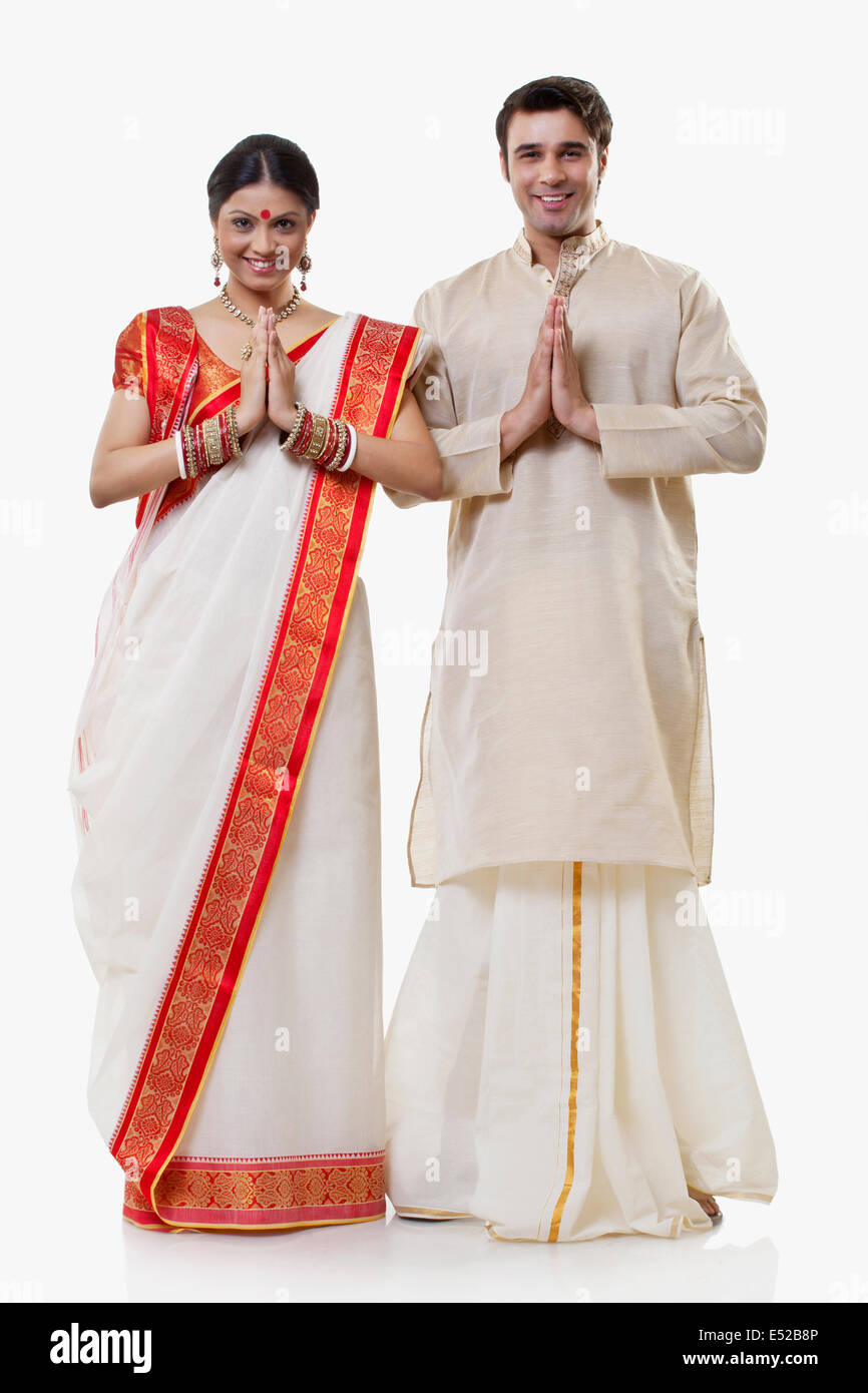 Portrait of a bengali couple greeting stock image