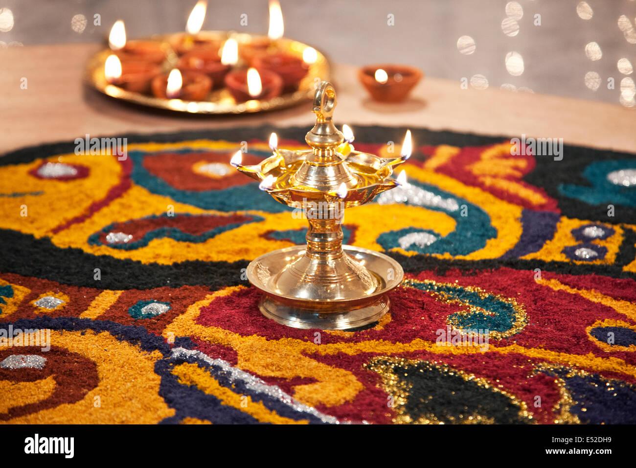 Close-up of rangoli with diyas Stock Photo