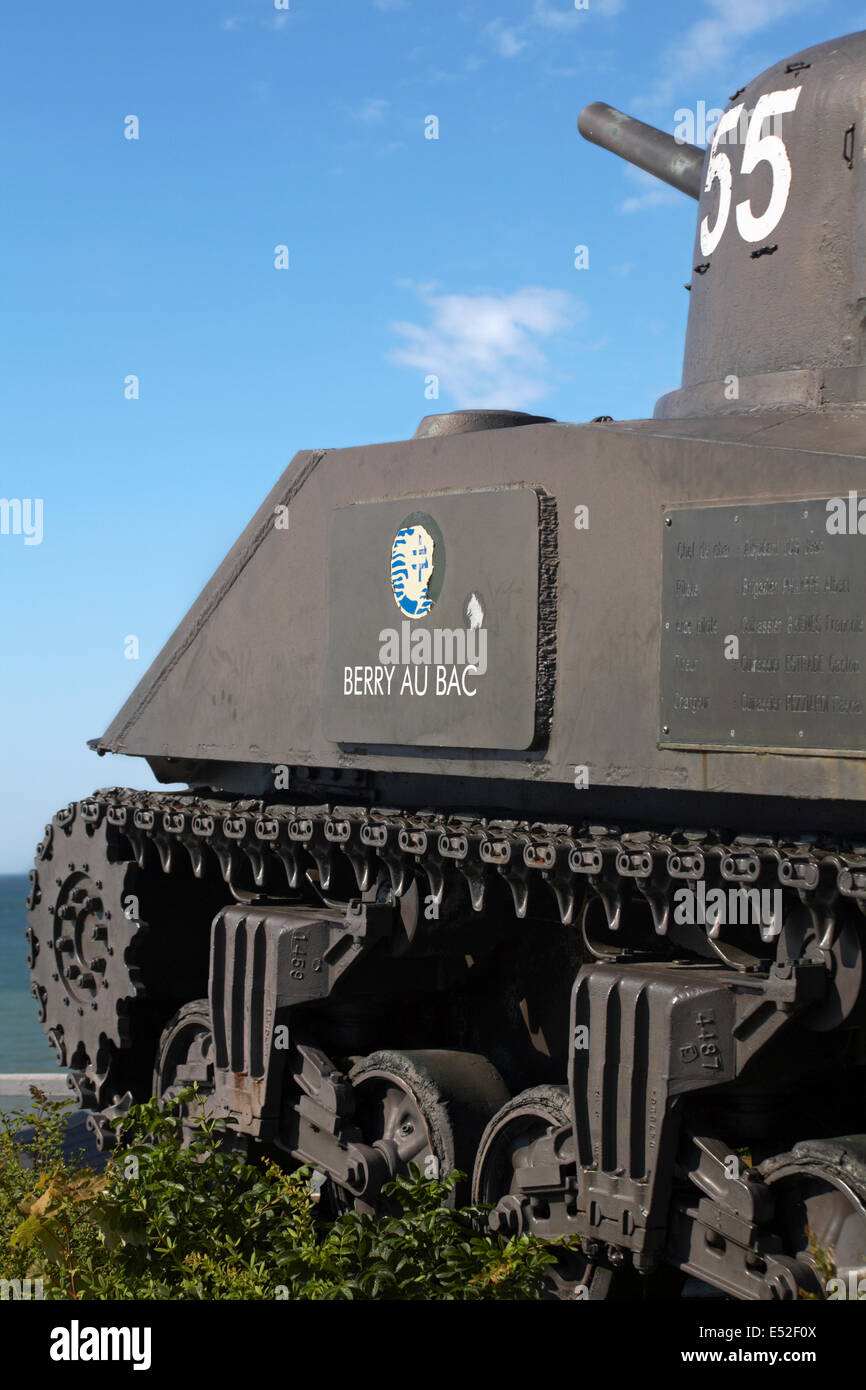 French 2nd DB Sherman tank Berry Au Bac on display at Arromanches, Normandy, France in July Stock Photo