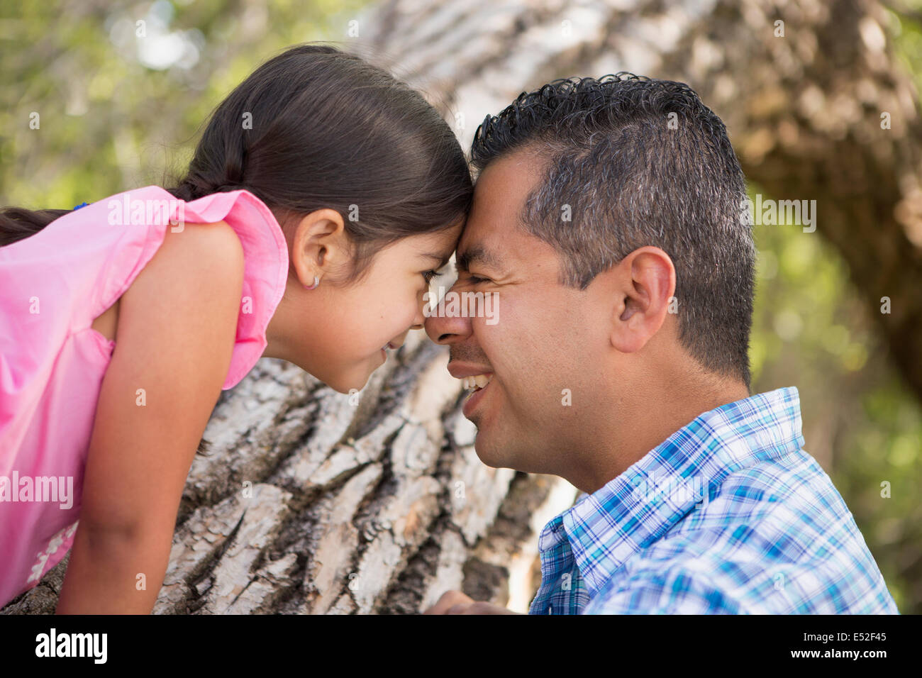 A father and daughter with foreheads pressed together by a tree in the park. - Stock Image