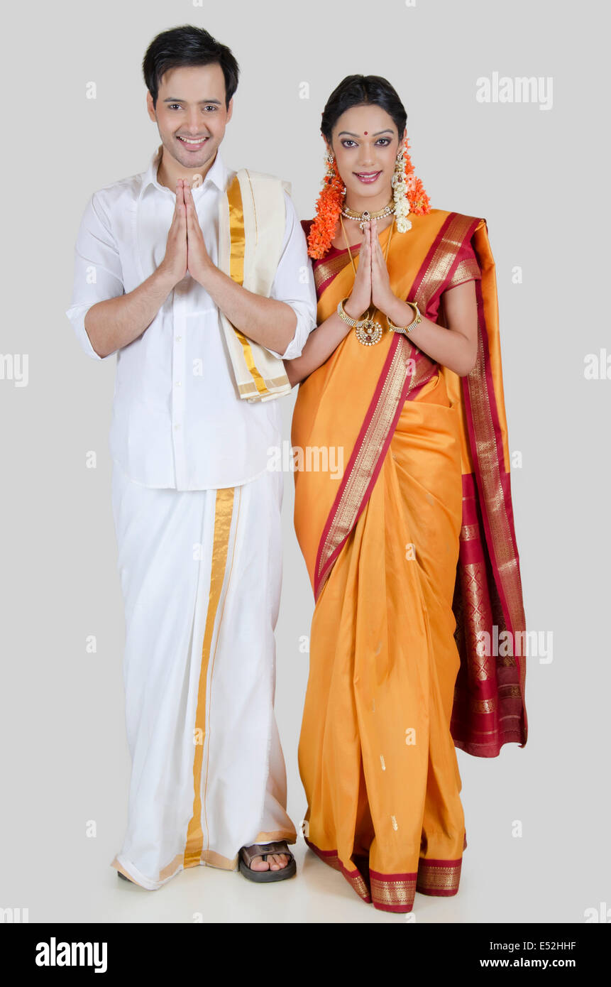 Portrait Of South Indian Couple Greeting Stock Photo