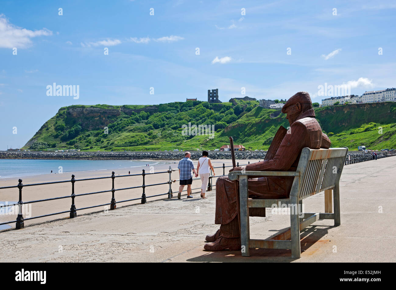 Steel sculpture of a former miner North Bay Scarborough North Yorkshire England UK United Kingdom GB Great Britain - Stock Image