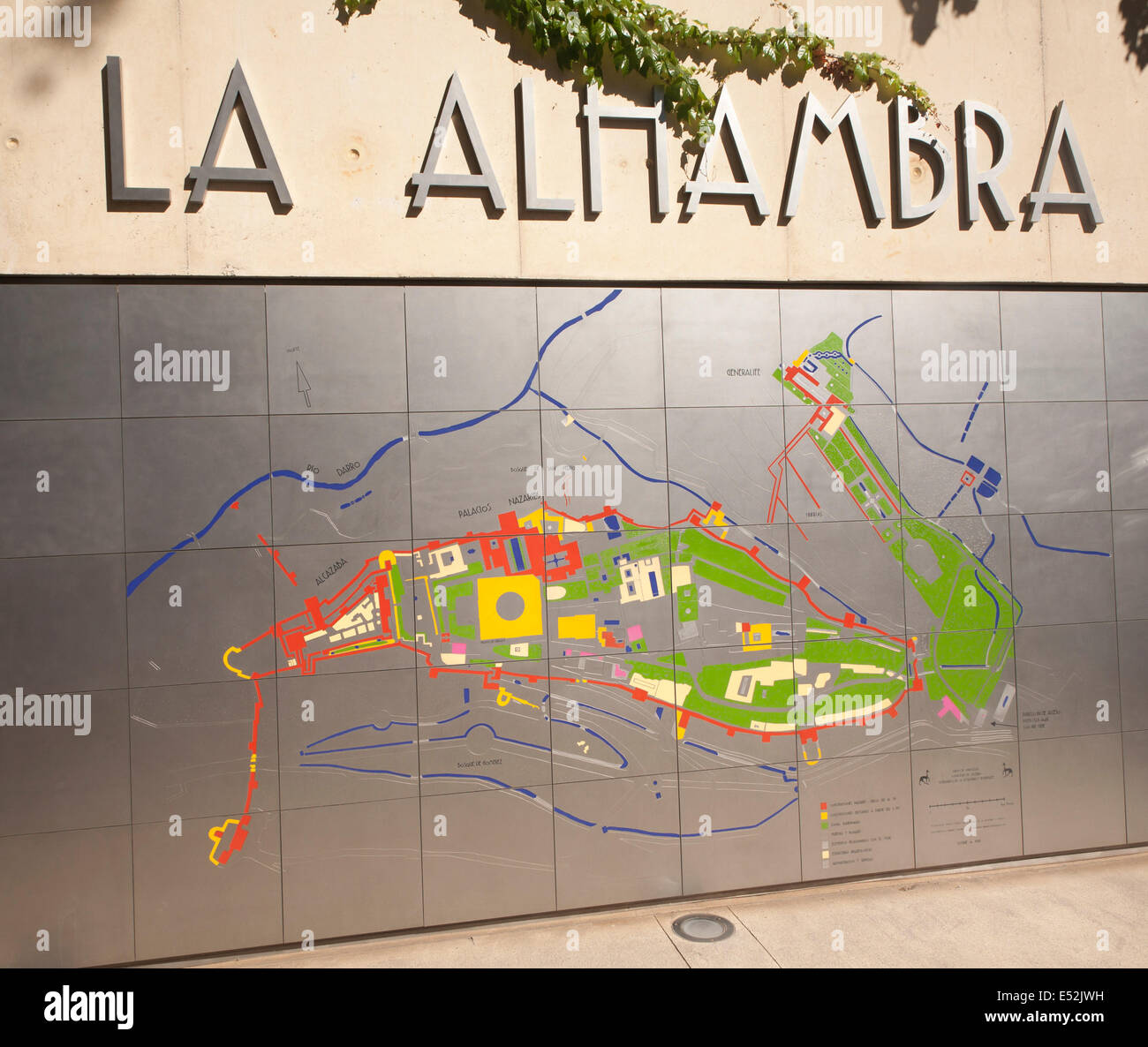 Map Of Spain Granada.Large Map On Metal Sheets Of The Alhambra Complex Granada Spain
