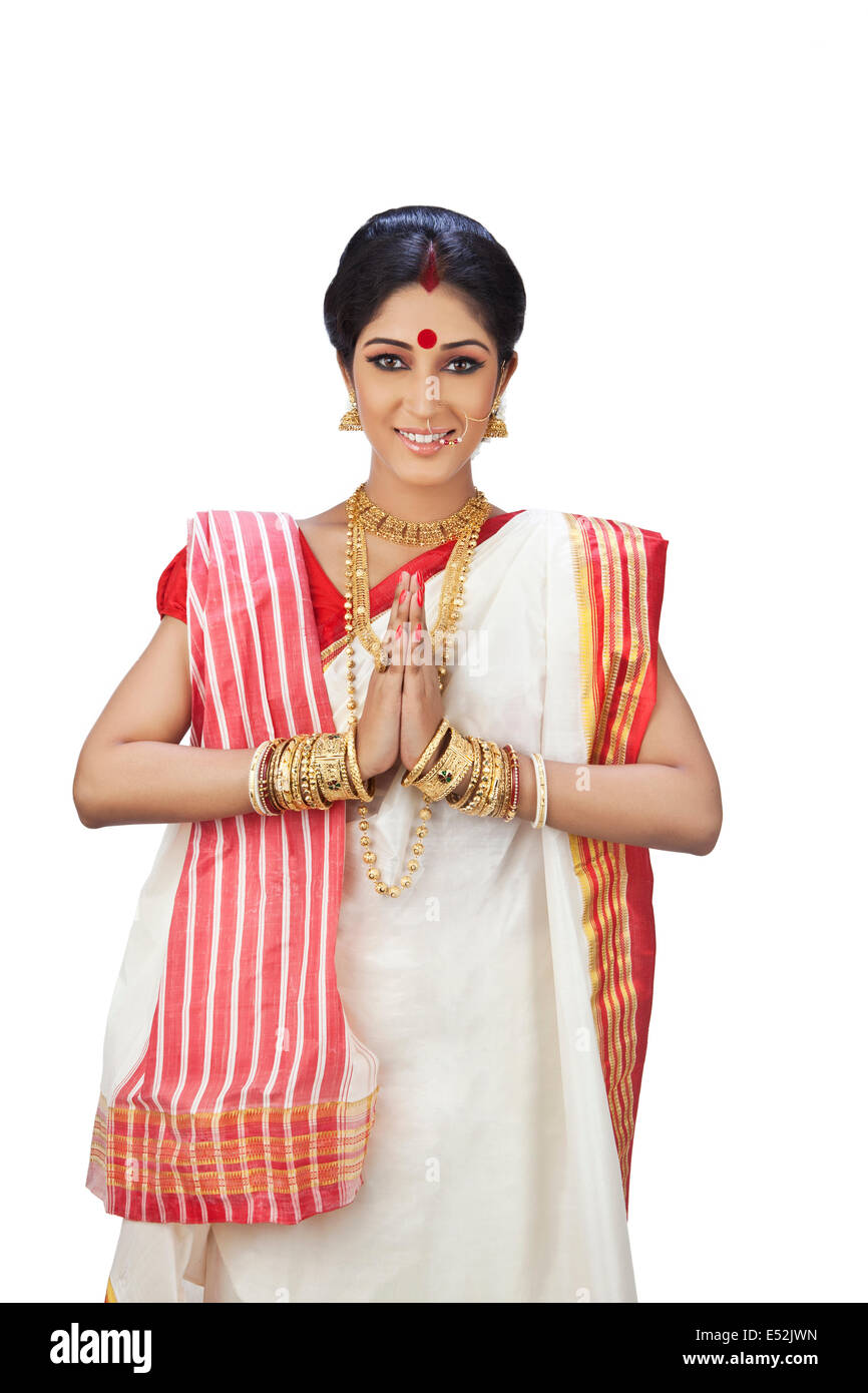Portrait of a Bengali woman greeting Stock Photo: 71973489