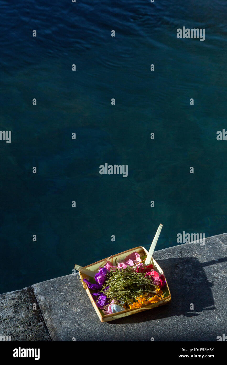 Bali, Indonesia.  Religious Offering (Canang) Placed by the Side of a Residential Swimming Pool Requesting Blessing - Stock Image