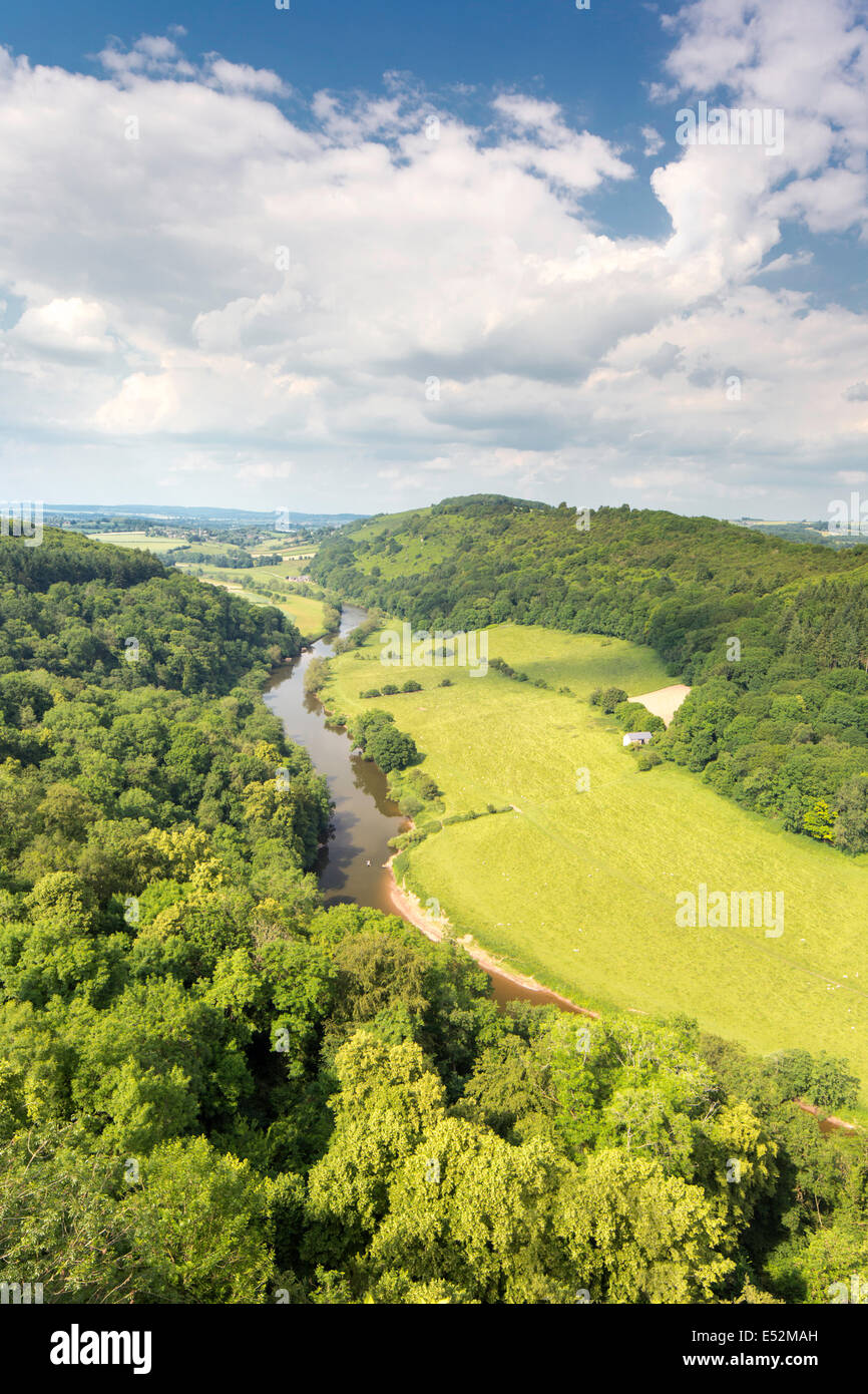 The Wye valley from Symonds Yat Rock, Herefordshire, England, UK - Stock Image