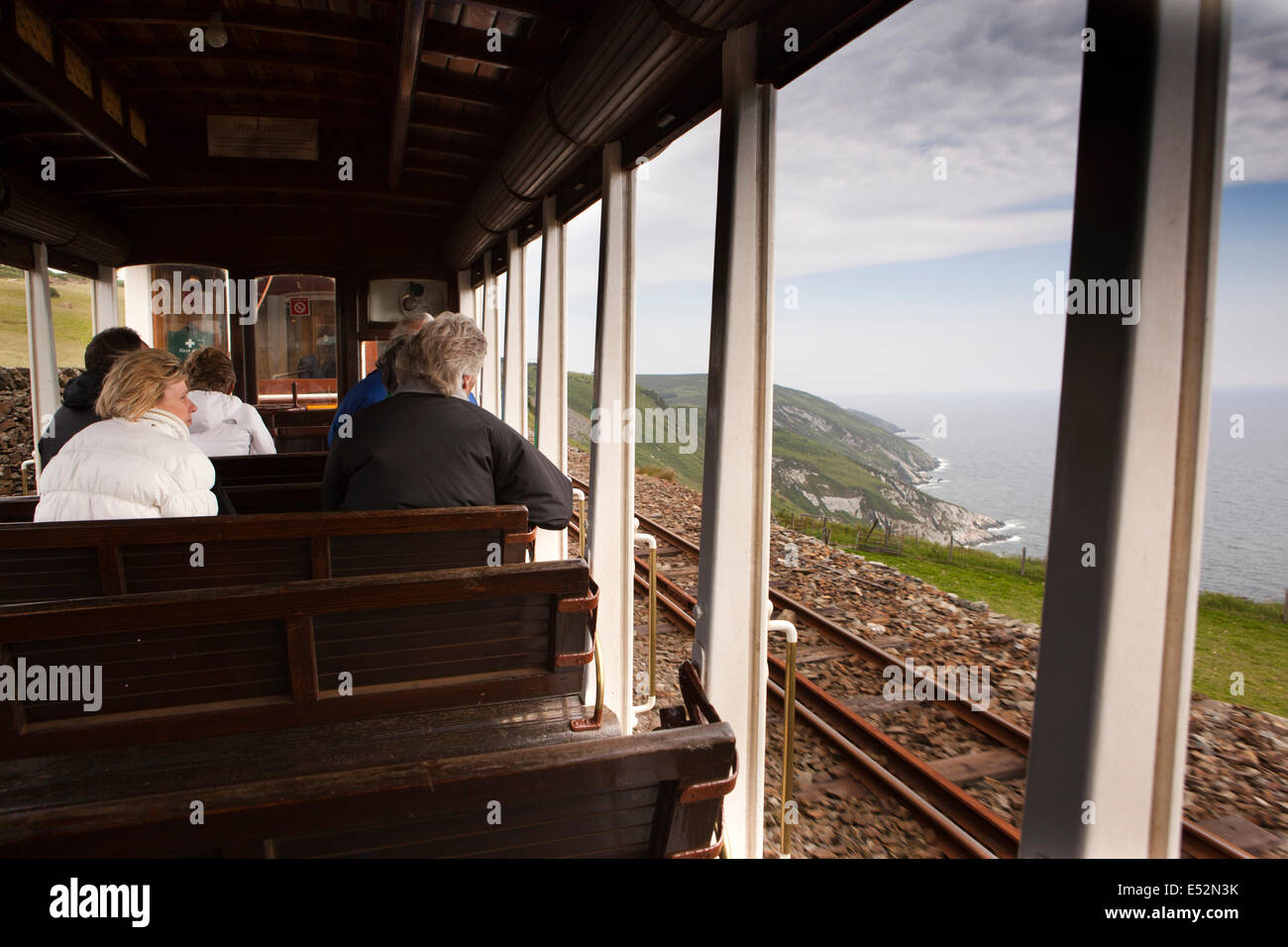 Isle of Man, Manx Electric Railway, passengers in open car at Dhoon Stock Photo