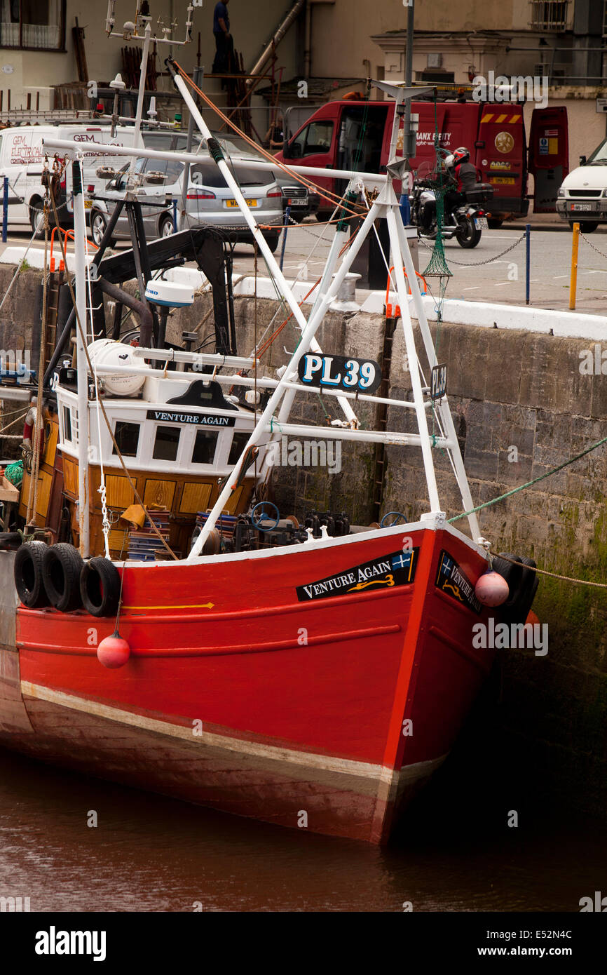 Isle of Man, Ramsey, Town Centre, fishing boat Venture Again moored at West Quay - Stock Image