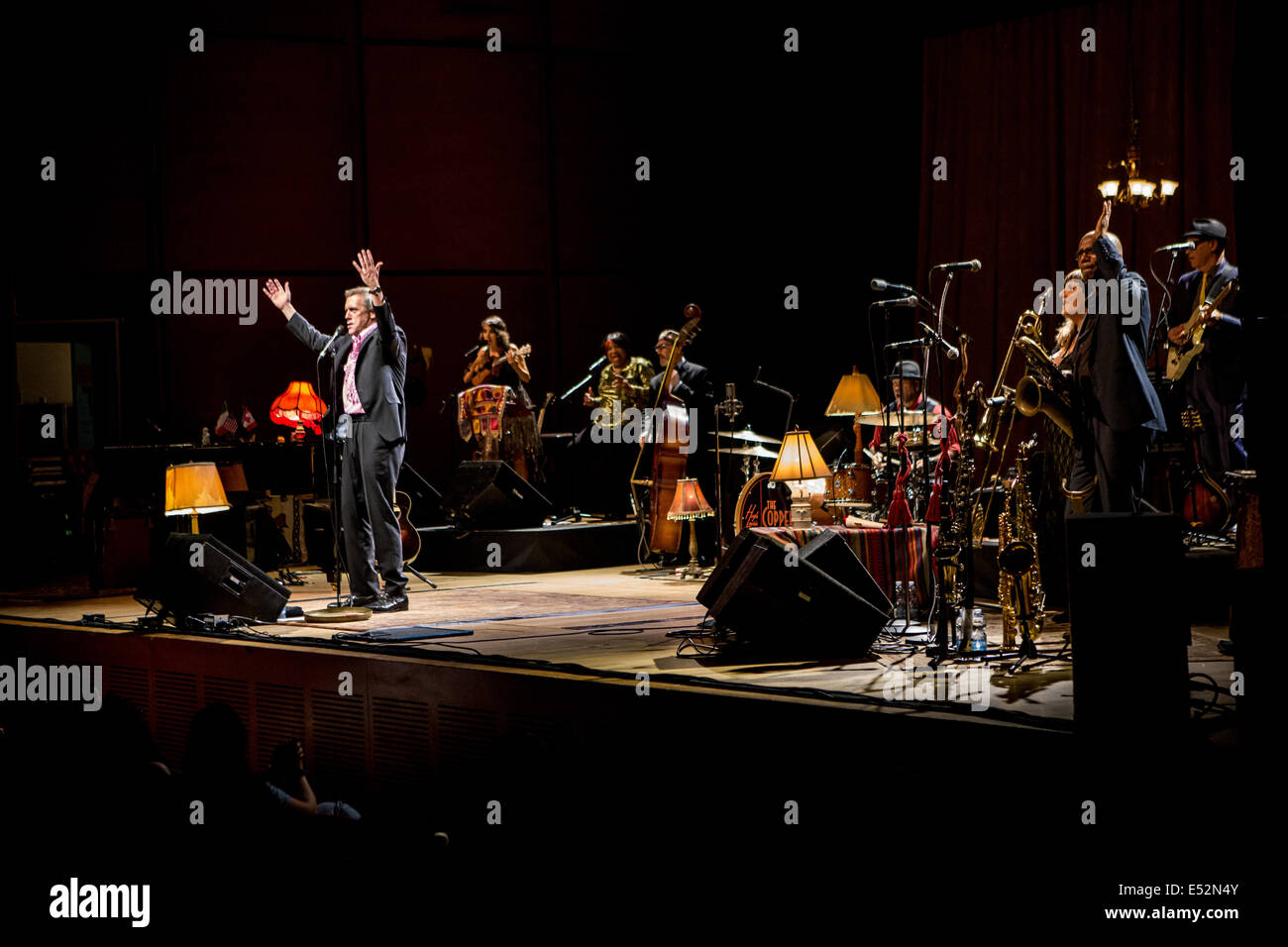 Milan Italy. 17th July 2014. British actor and musician HUGH LAURIE with the Copper Bottom Band performs live at - Stock Image