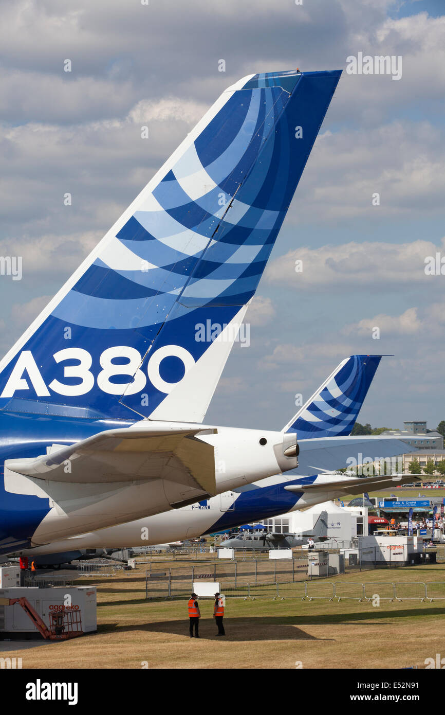 The Farnborough International Airshow trade exhibition for the aerospace and defence industries, Hampshire, England, - Stock Image