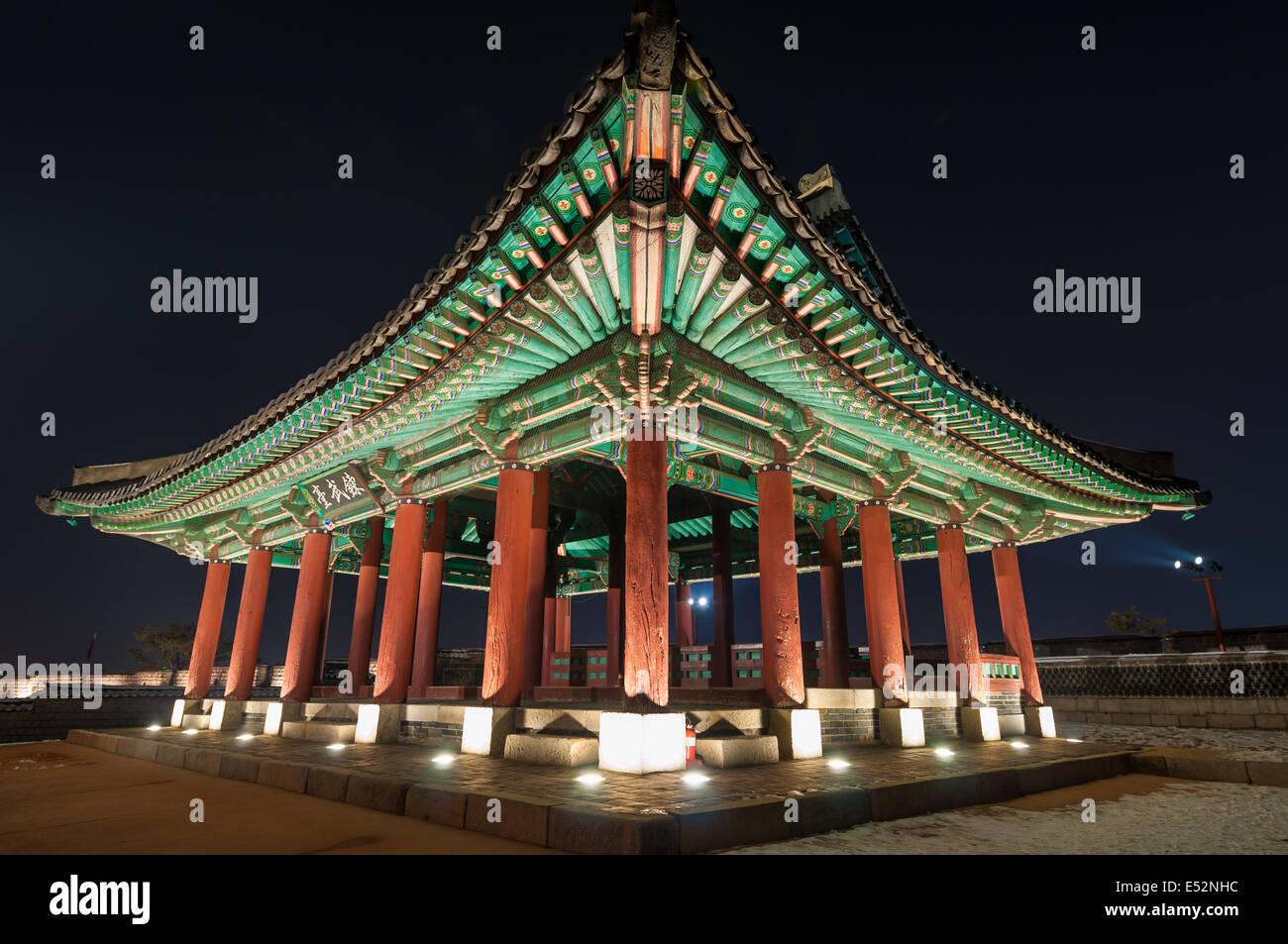 A pavilion at Hwaseong Fortress in Suwon, South Korea. - Stock Image