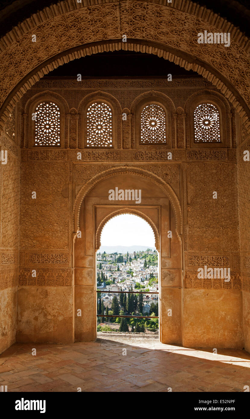 Stone arches in Islamic key shape in the Generalife palace, Alhambra, Granada, Spain - Stock Image