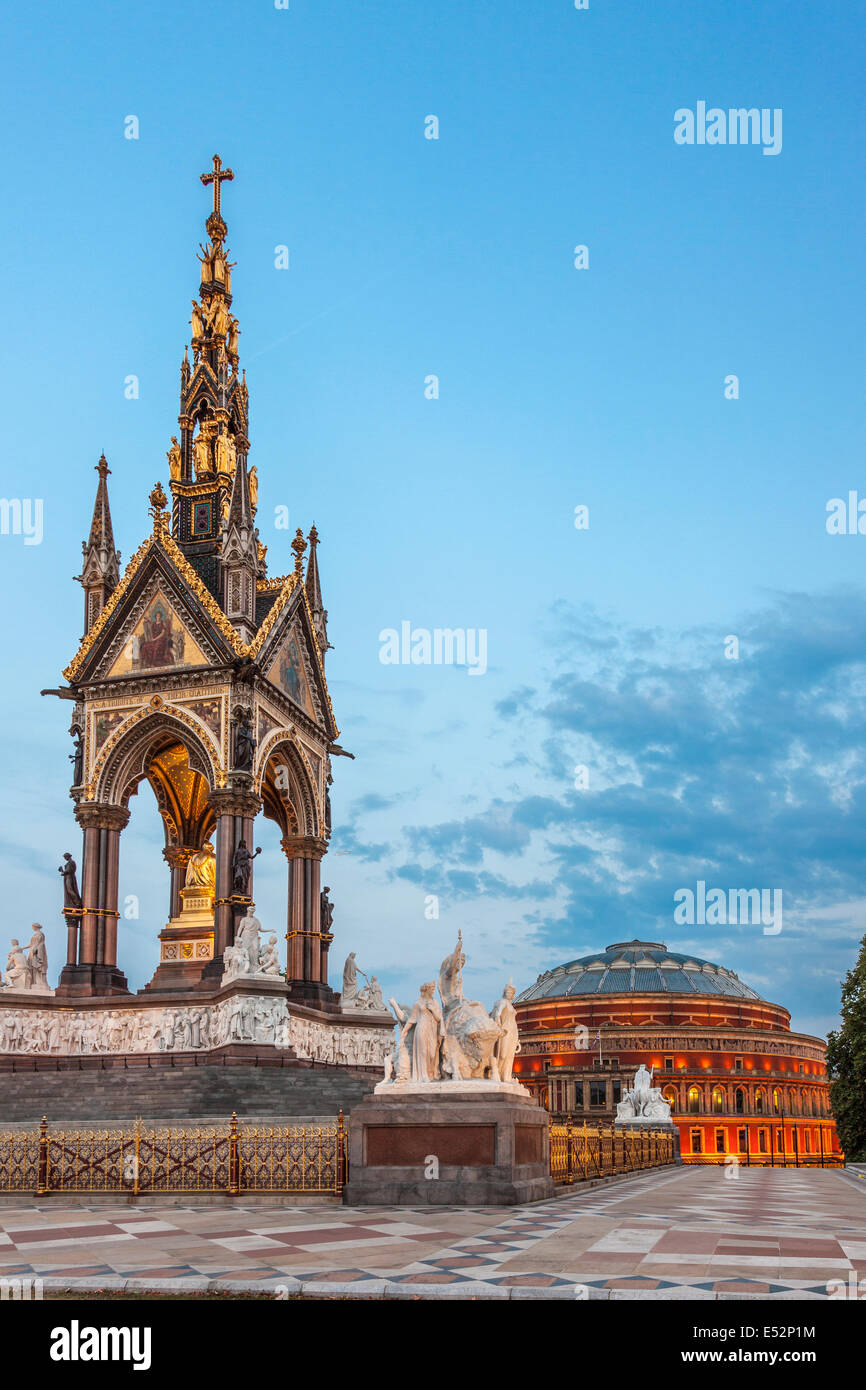 Albert Memorial and Royal Albert Hall,View from Hyde Park,London,England - Stock Image