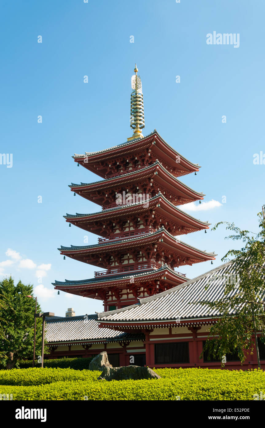 The ornate five-story pagoda at Sensoji Temple in Tokyo, Japan. - Stock Image