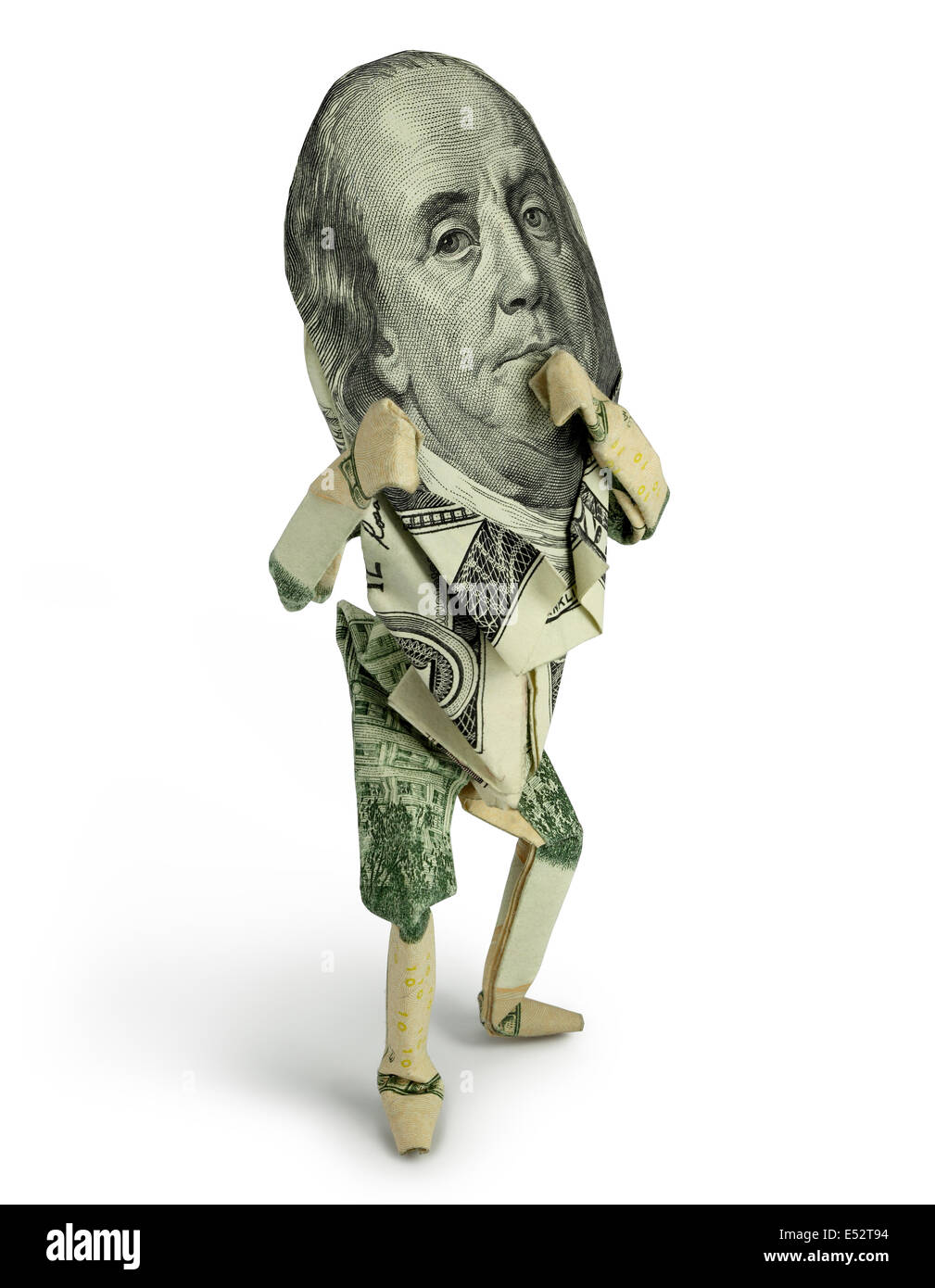 Origami Human Figure Posed With Fists Up On Pure White Background Featuring Ben Franklins Face From The 100 Dollar Bill