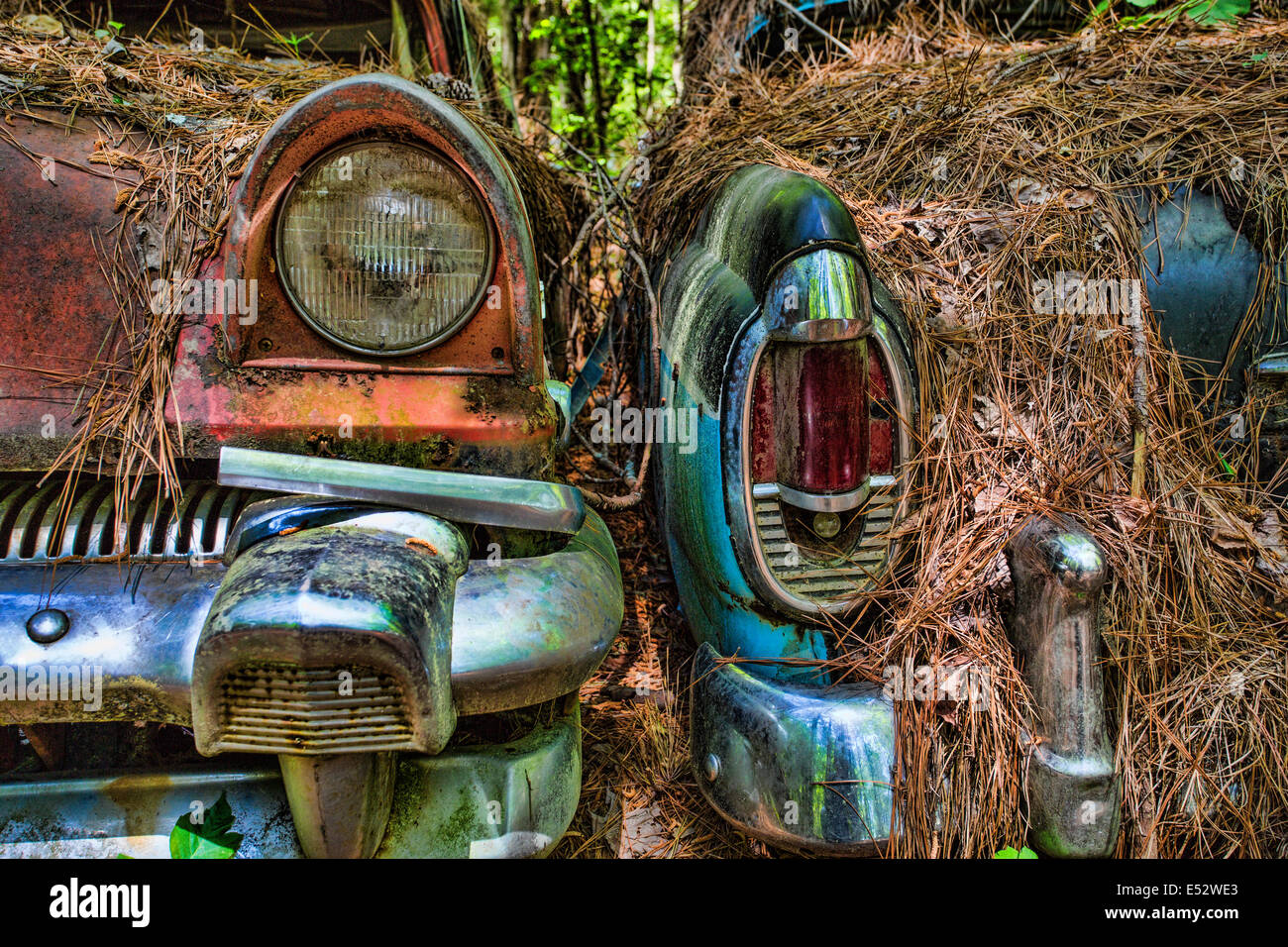 Rusted junk cars and trucks in Old Car City in White Georgia - Stock Image