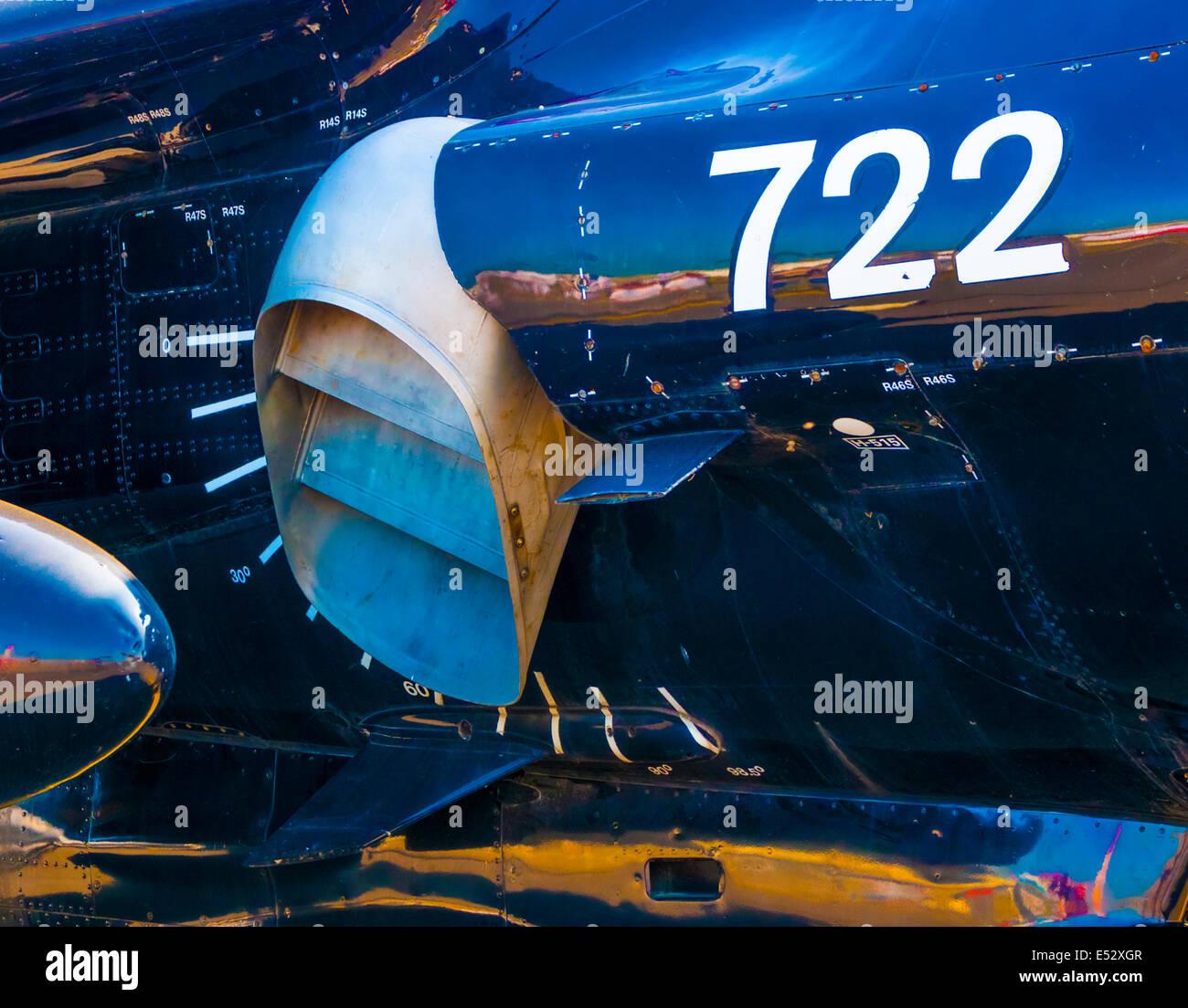 Directed thrust engine exhaust nozzle on British Aerospace Harrier T8 - Stock Image