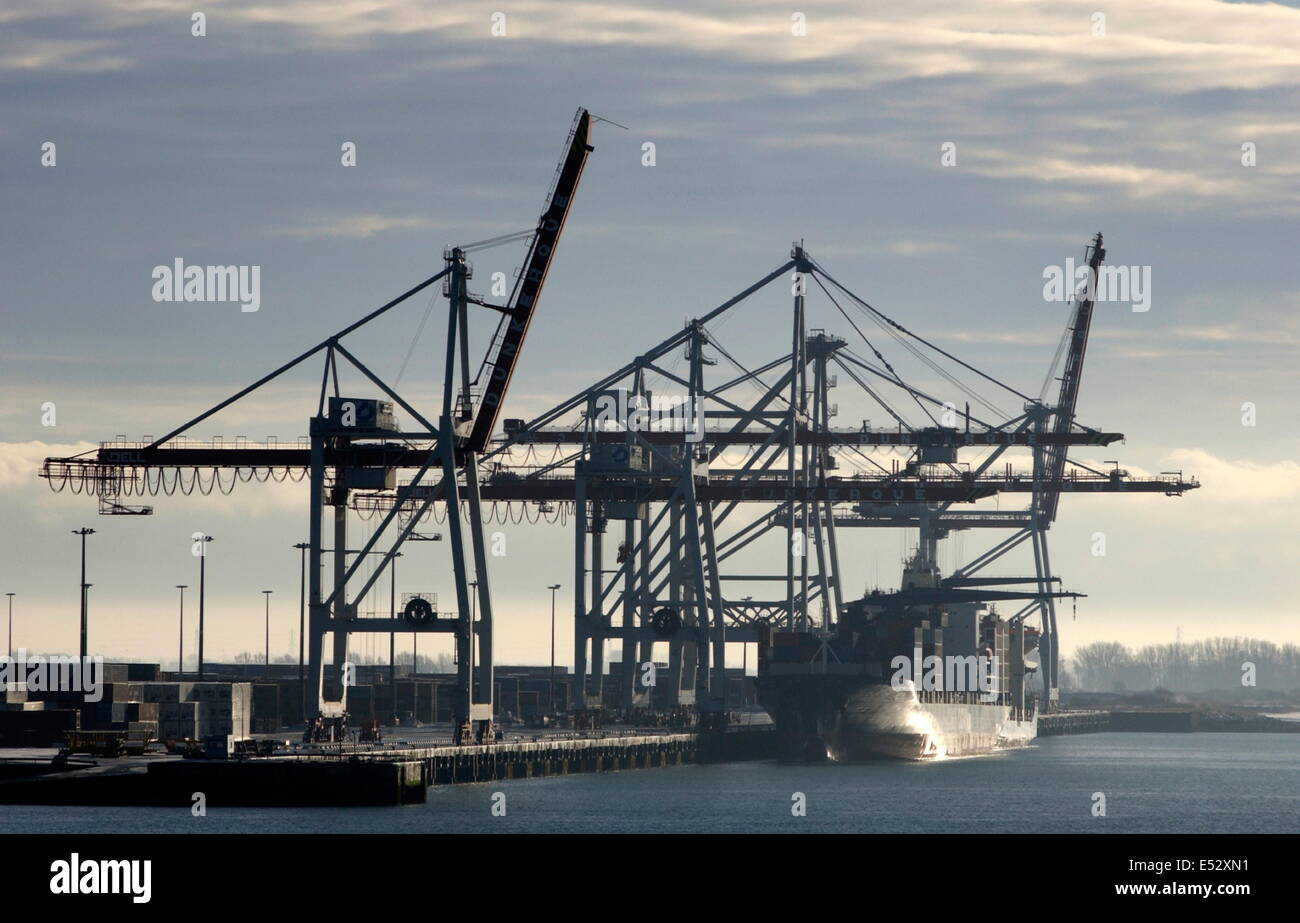 AJAXNETPHOTO. DUNKERQUE, FRANCE - Container port and cranes. Photo: Jonathan Eastland/Ajax Stock Photo