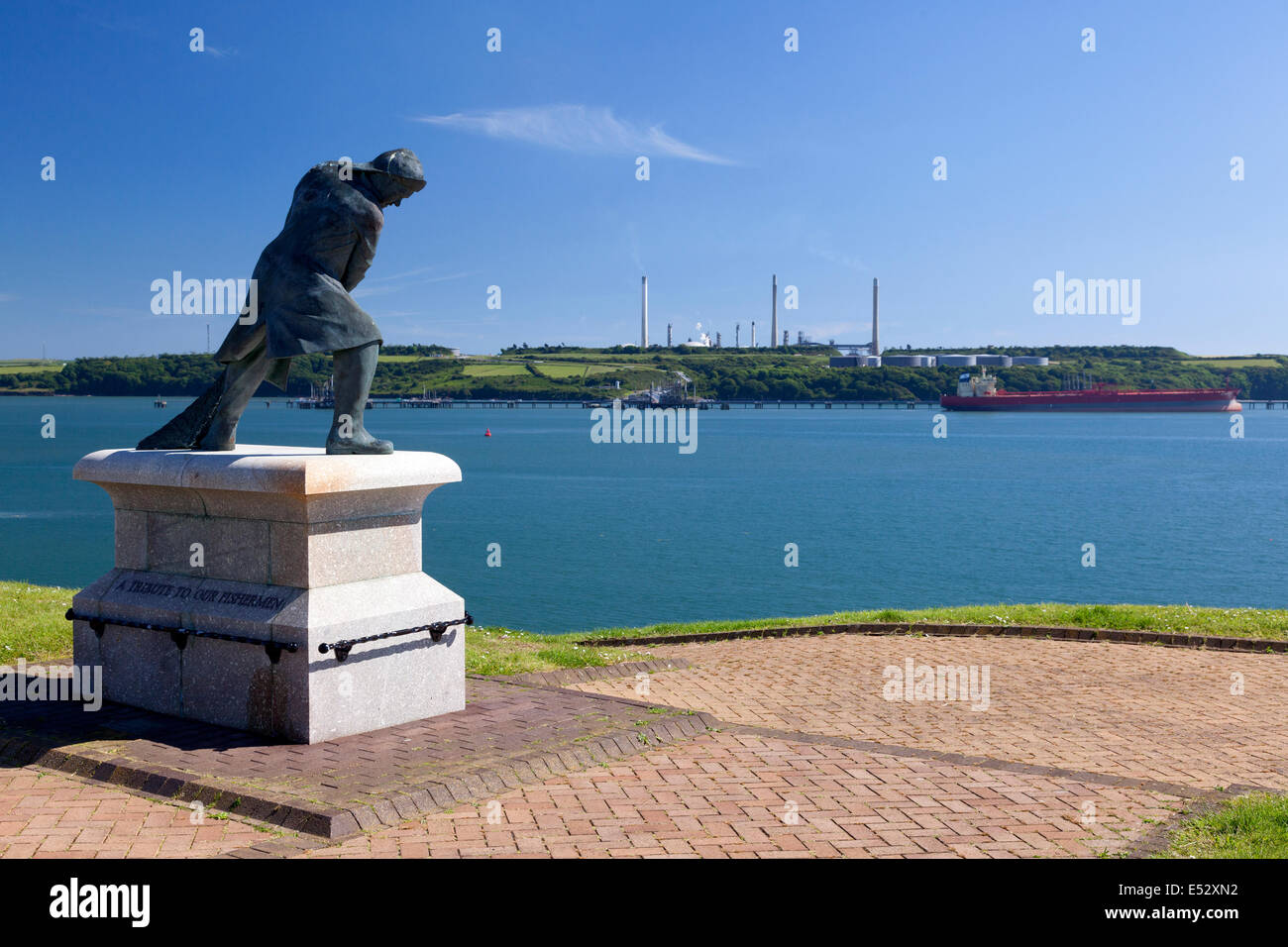 Memorial to the fishing industry beside the Haven, Milford Haven, Pembrokeshire - Stock Image