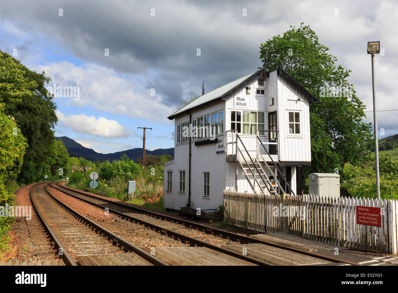 Traditional old railway signal box on main line between Edinburgh and Inverness at Blair Atholl, Perth and Kinross, - Stock Image