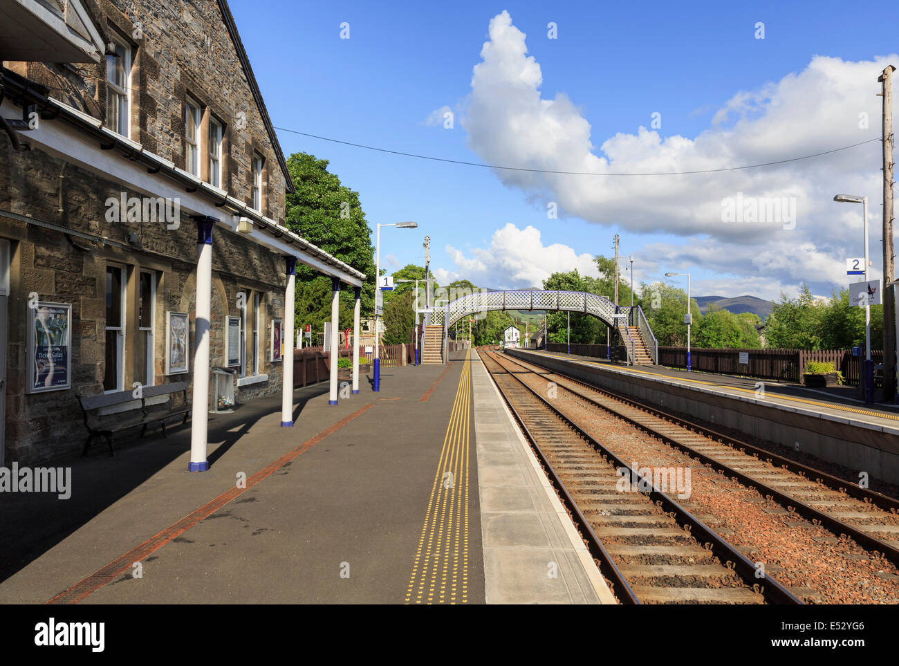 Empty railway station platform on main line between Edinburgh and Inverness. Blair Atholl, Perth and Kinross Scotland - Stock Image