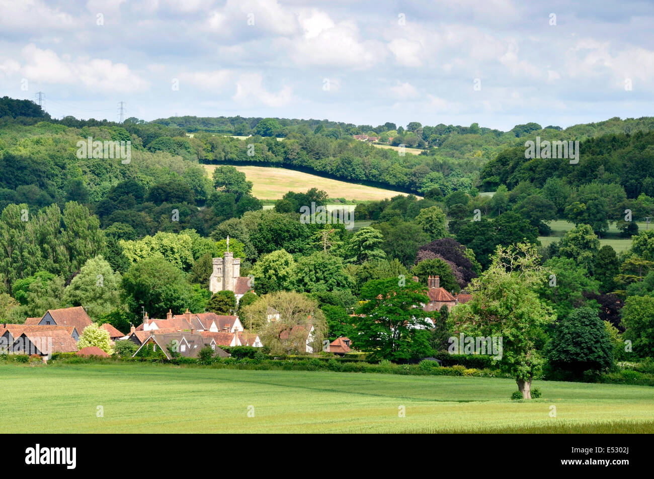 Bucks - Chiltern Hills - view Little Missenden village - Misbourne valley - cottages - church tower - woods - threat - Stock Image