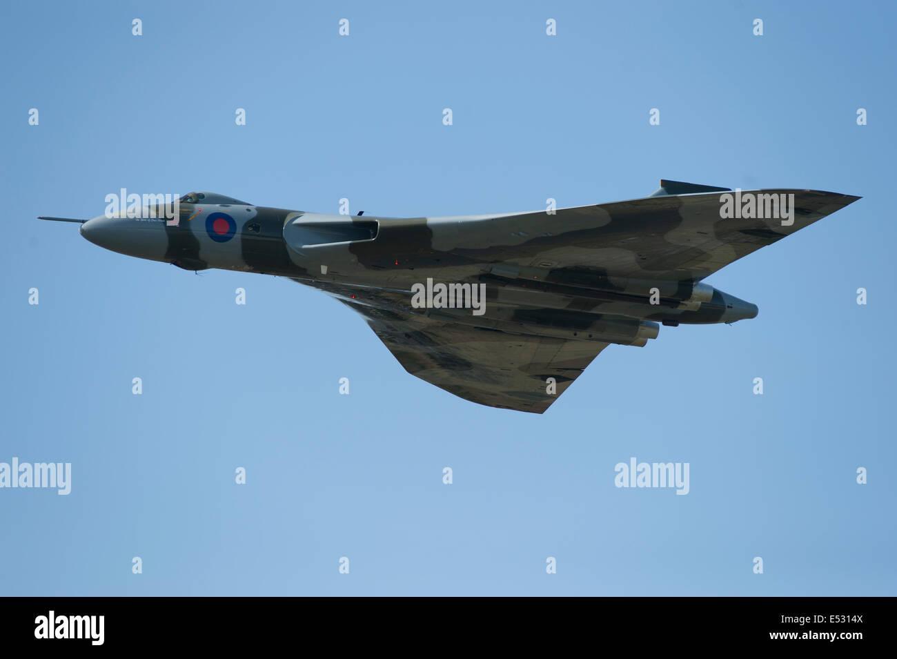 Farnborough Aerodrome, Hampshire, UK. 18th July, 2014. The international aerospace exhibition is the UK's biggest - Stock Image