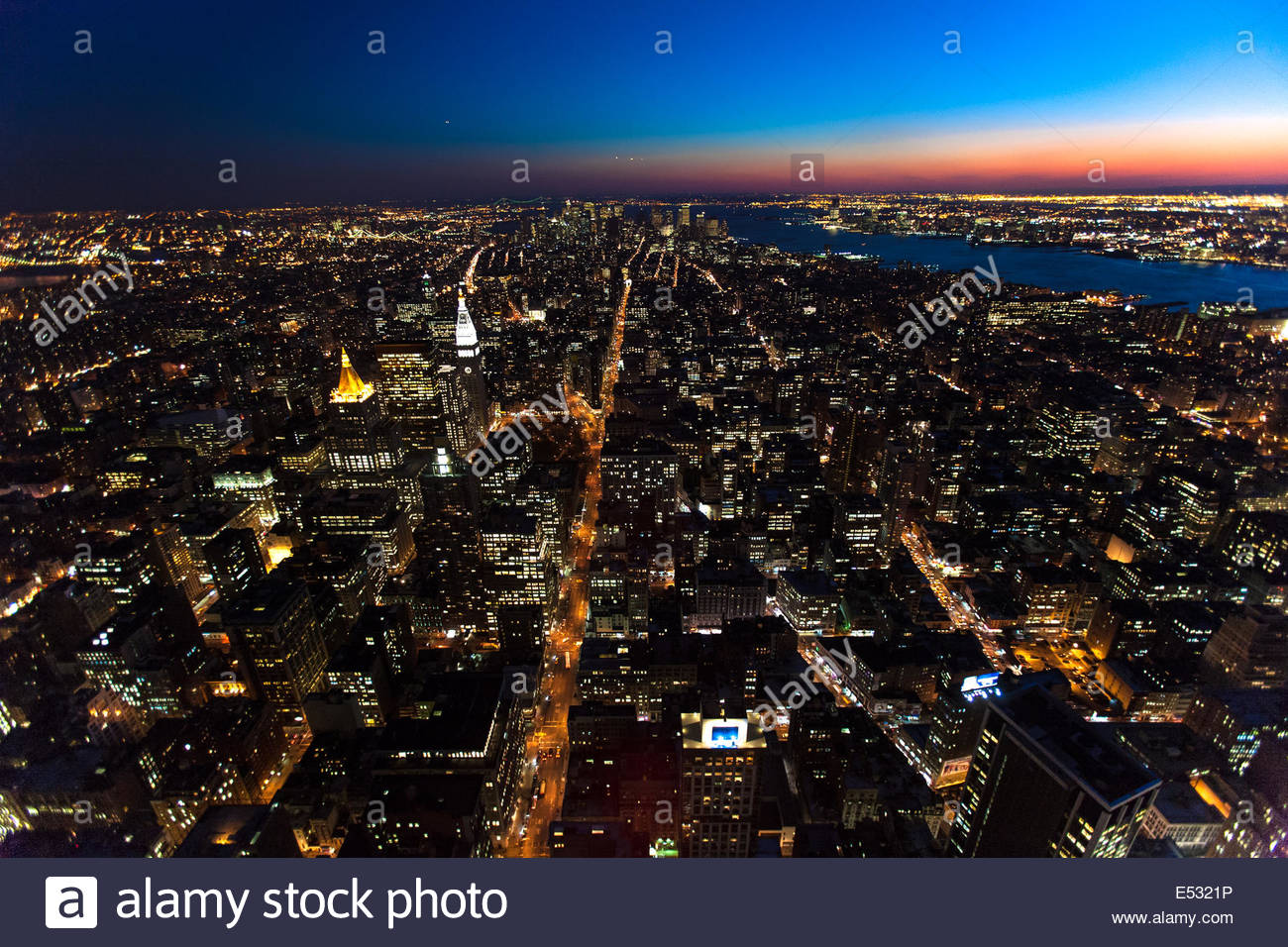 New York City at dusk from above (shot from Empire State Building), New York, USA - Stock Image