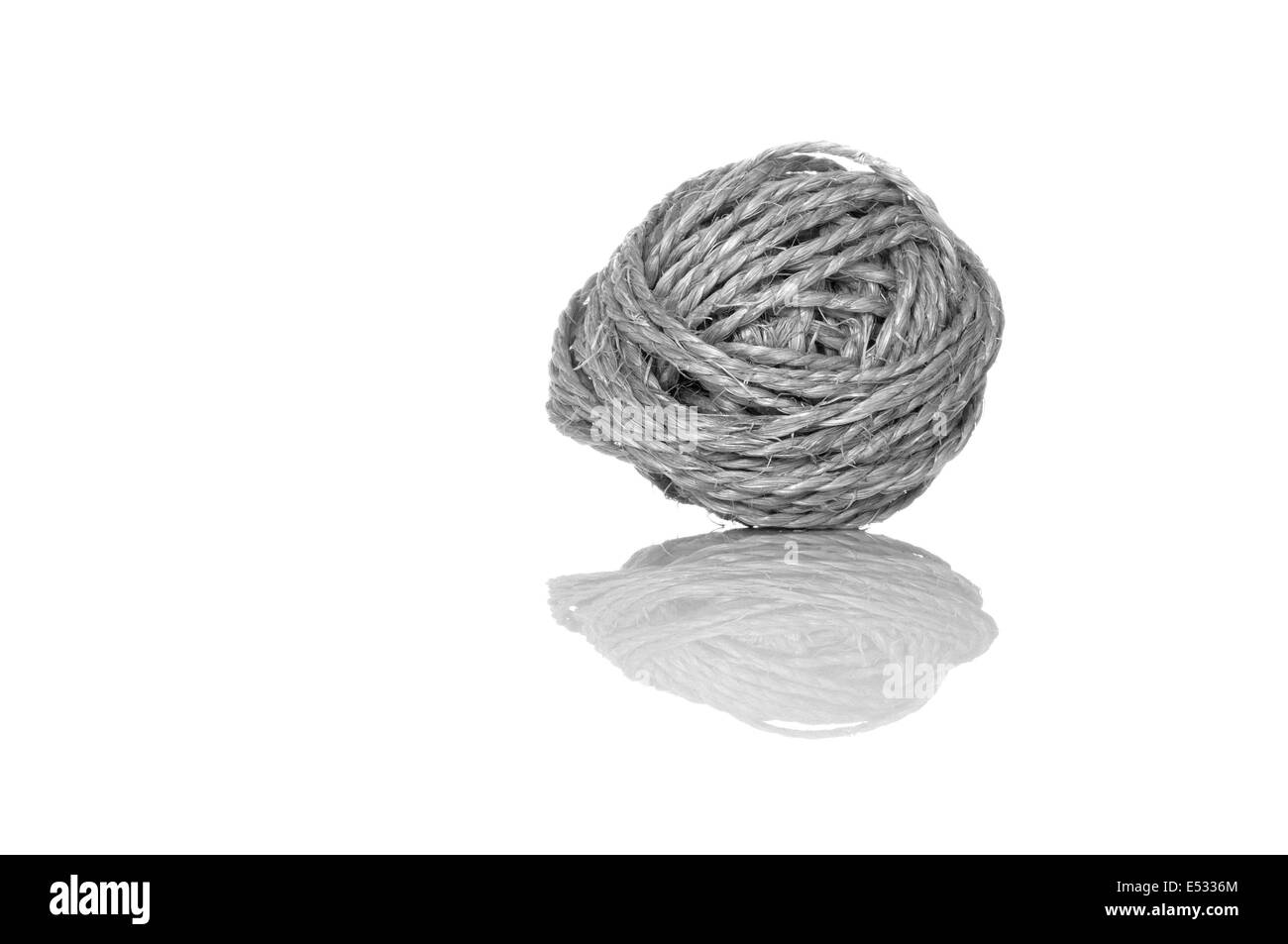 Ball of sisal cord with reflection Stock Photo