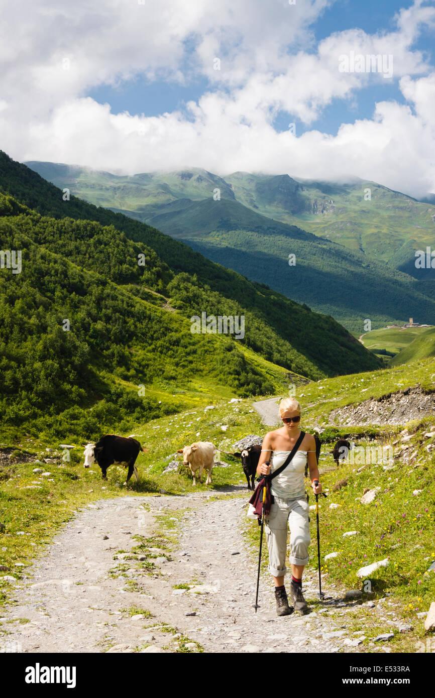 Russian trekker on her way to Shkara glacier. Svaneti, Georgia - Stock Image