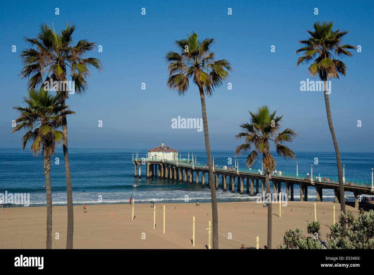 Manhattan Beach Pier In The South Bay Area Of Los Angeles California Stock Photo Alamy