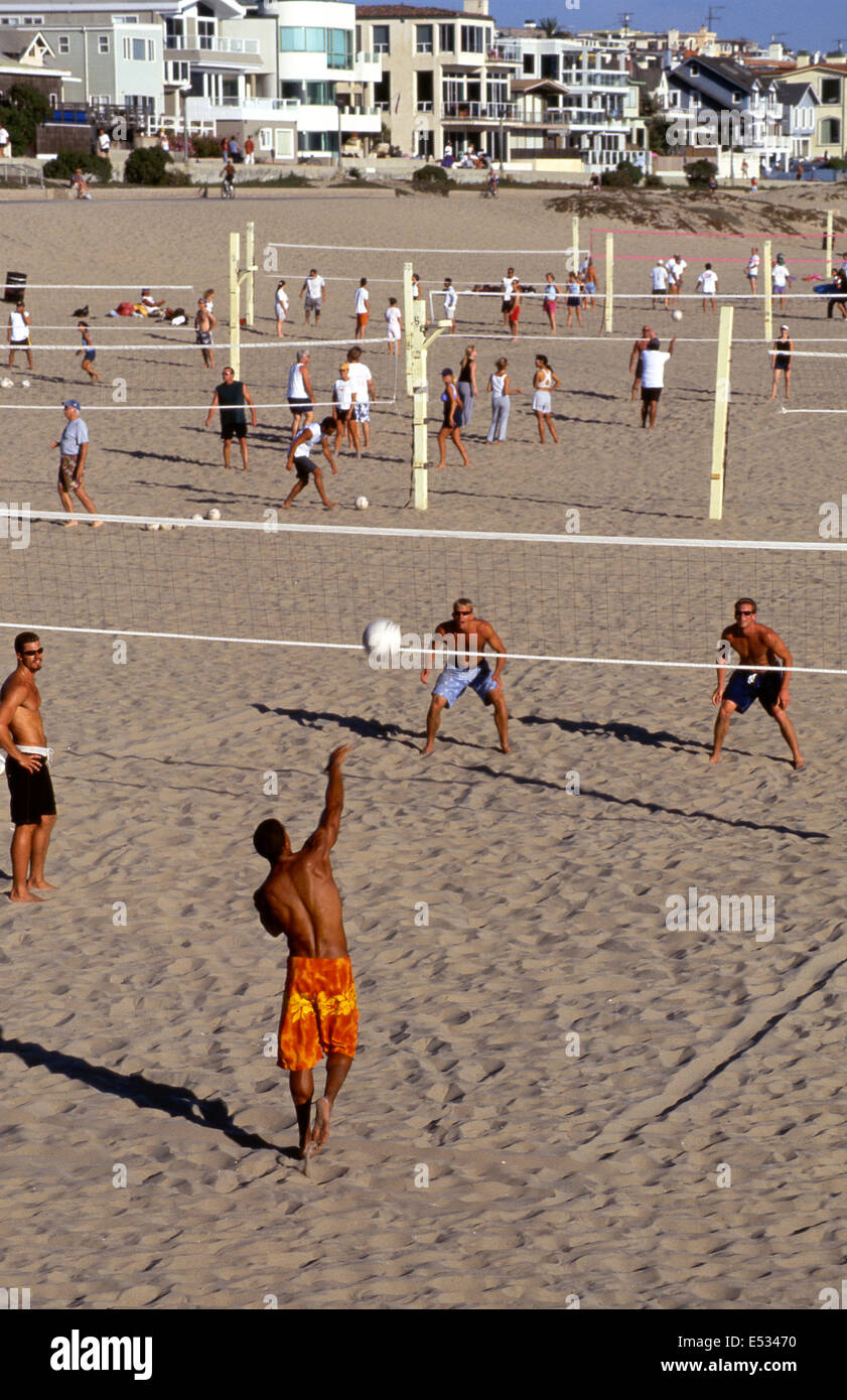 Beach volleyball courts at Manhattan Beach - Stock Image
