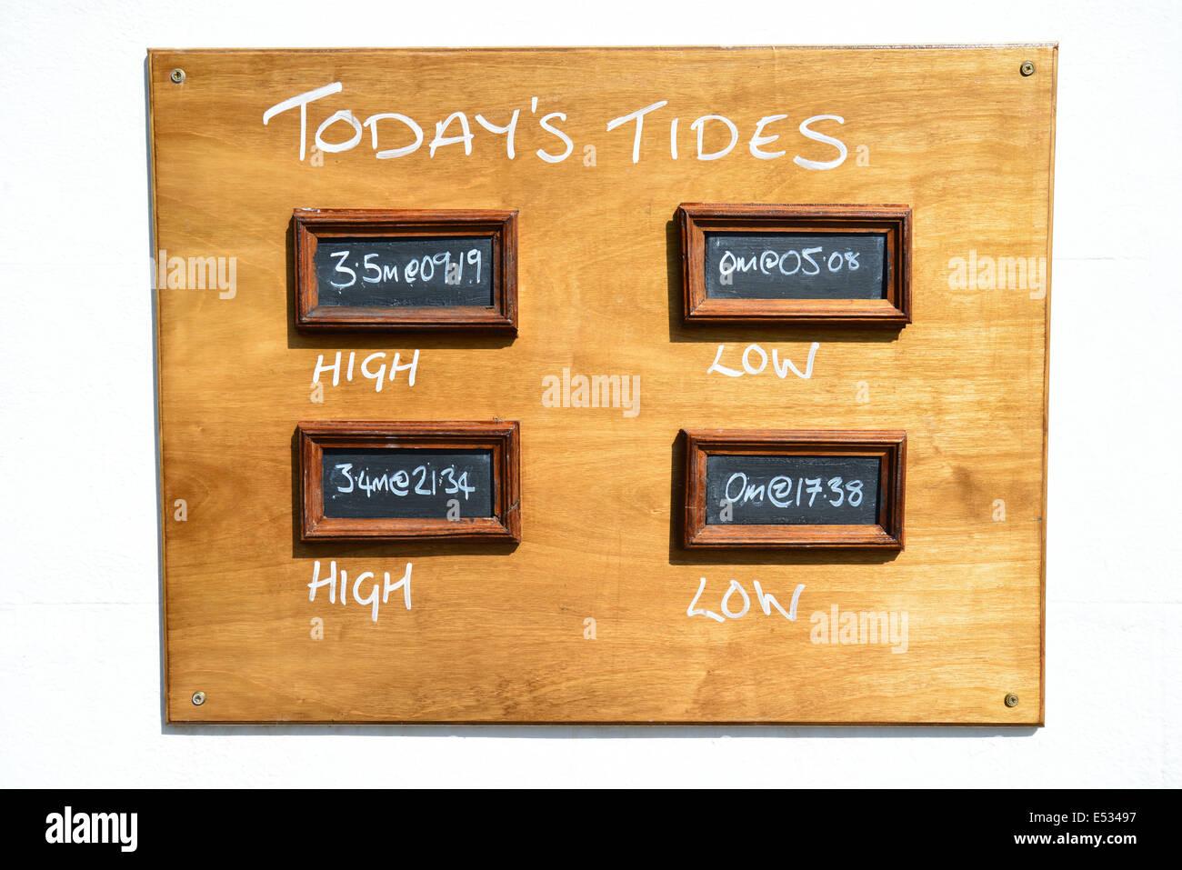 Tide board, The White Swan Pub, Riverside, Twickenham, Borough of Richmond upon Thames, Greater London, England, - Stock Image