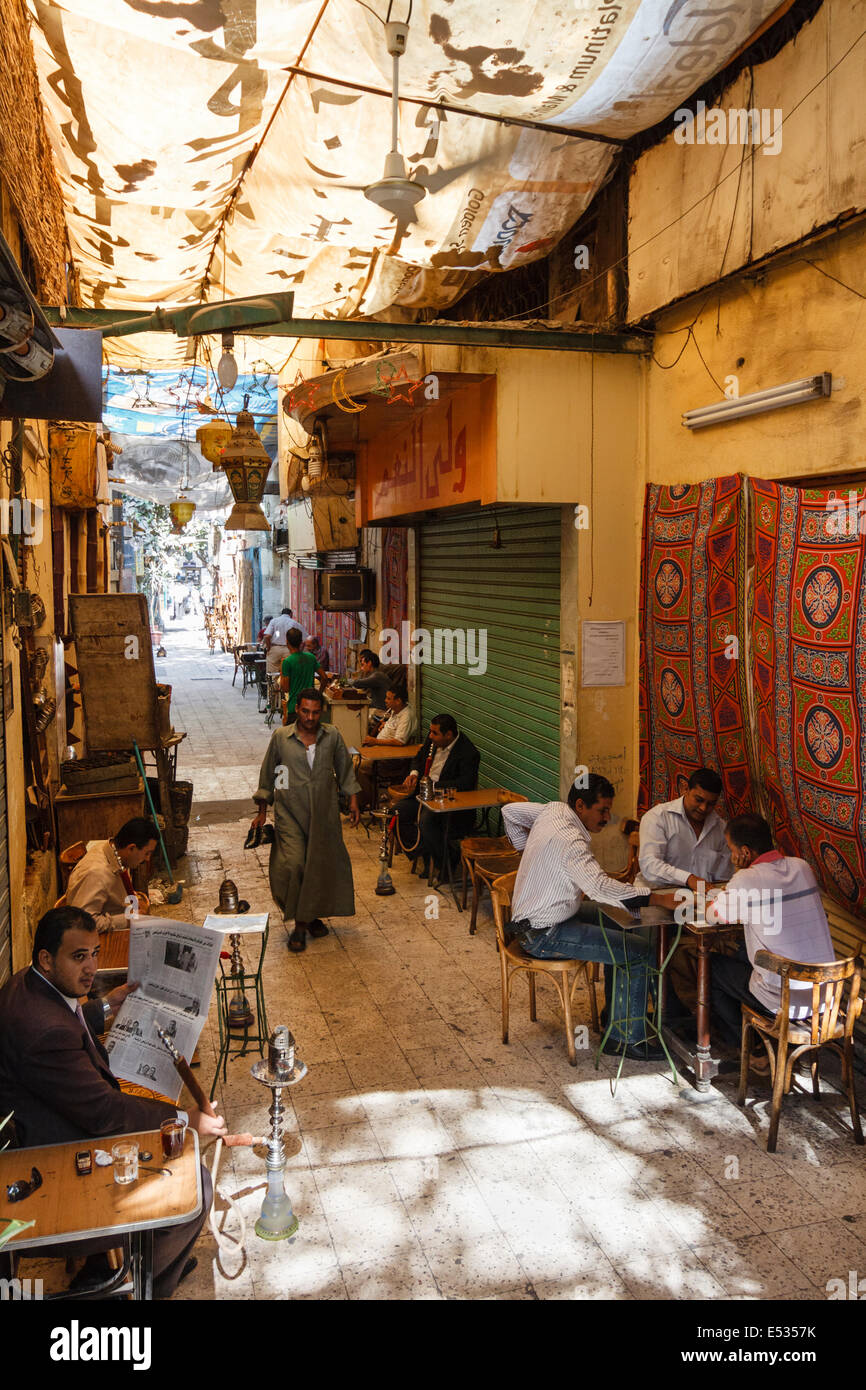 Coffehouse at an alley in Cairo downtown, Egypt - Stock Image