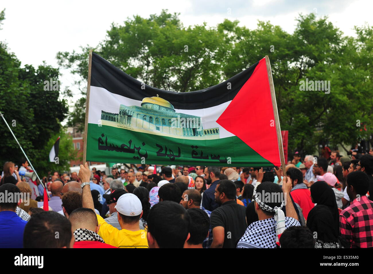 In London, Ontario over 150 people attend a rally in solidarity with Palestinians in Gaza during Israels offensive - Stock Image