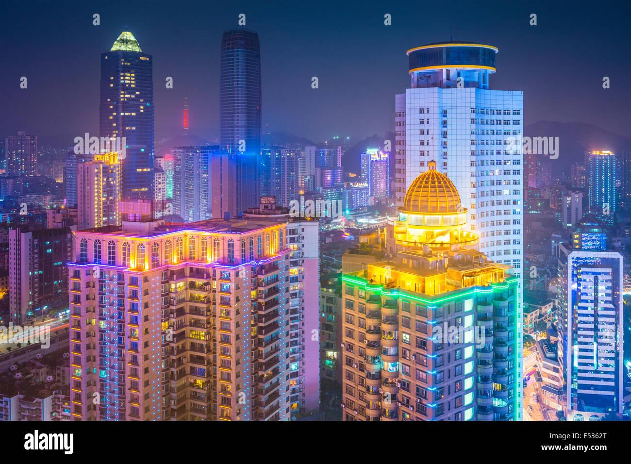 Guiyang, China downtown cityscape at night. - Stock Image