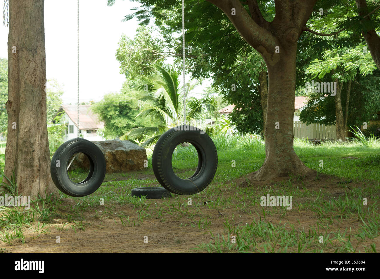 Tires Boy Scout camp - Stock Image