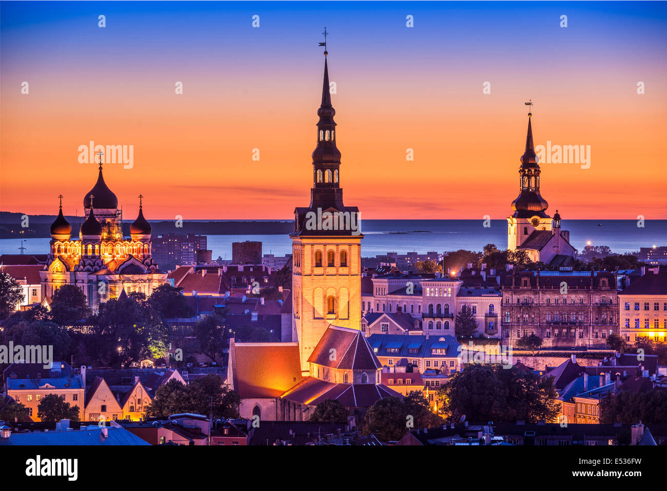 Tallinn, Estonia at sunset. - Stock Image