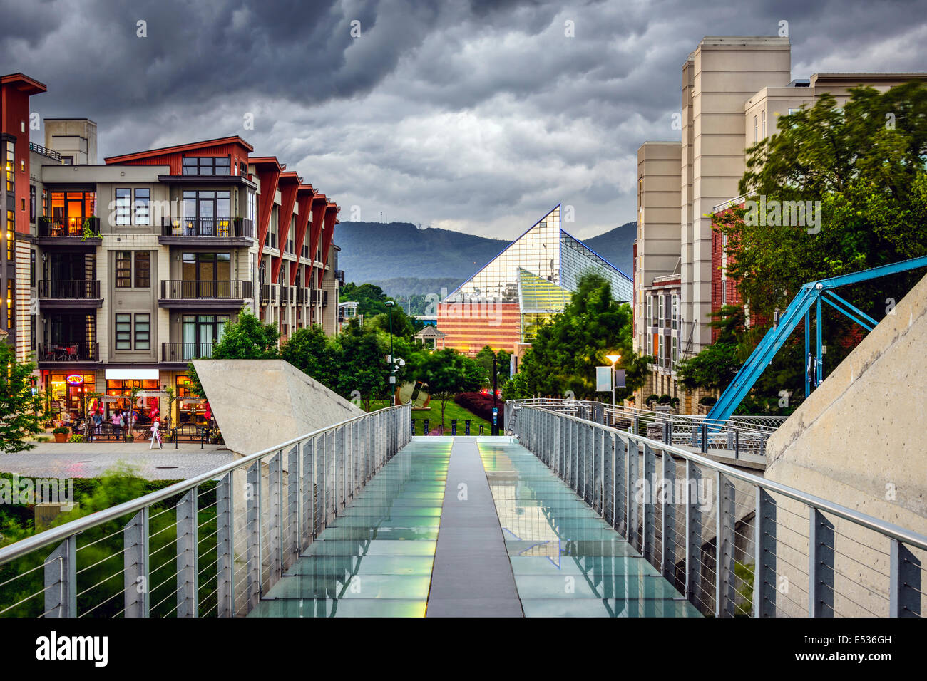 Chattanooga, Tennessee, USA downtown cityscape under a stormy sky. - Stock Image