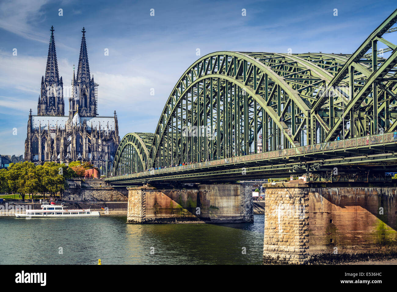 Cologne, Germany over the Rhine River. - Stock Image