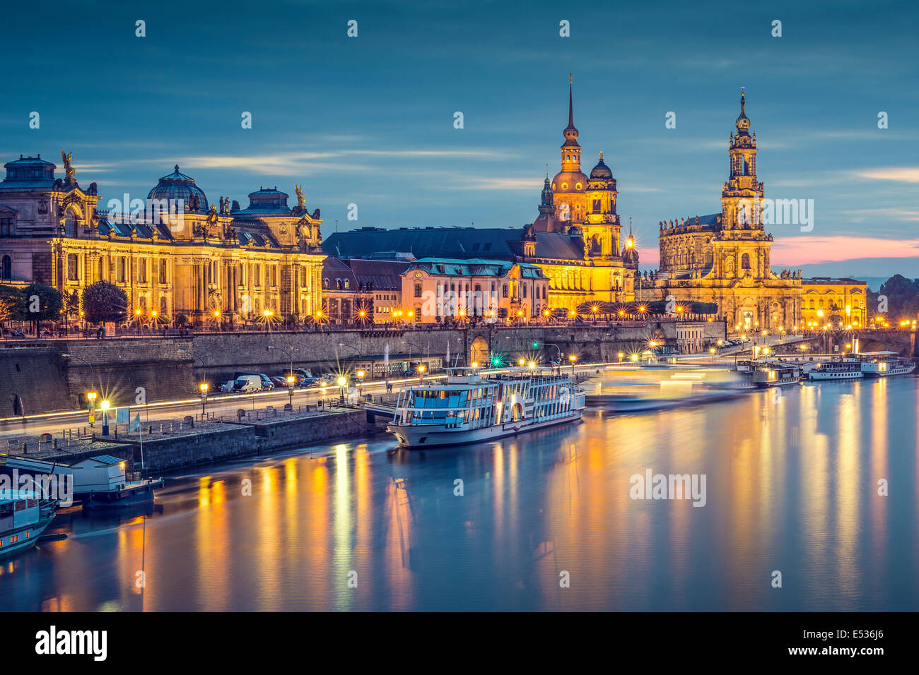 Dresden, Germany cityscape on the Elbe River. - Stock Image