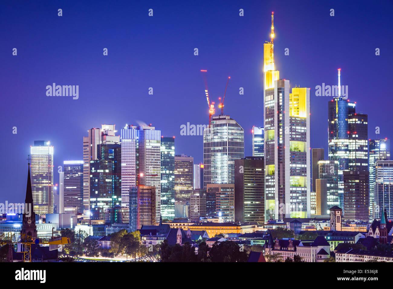 Frankfurt, Germany Cityscape at night. Stock Photo